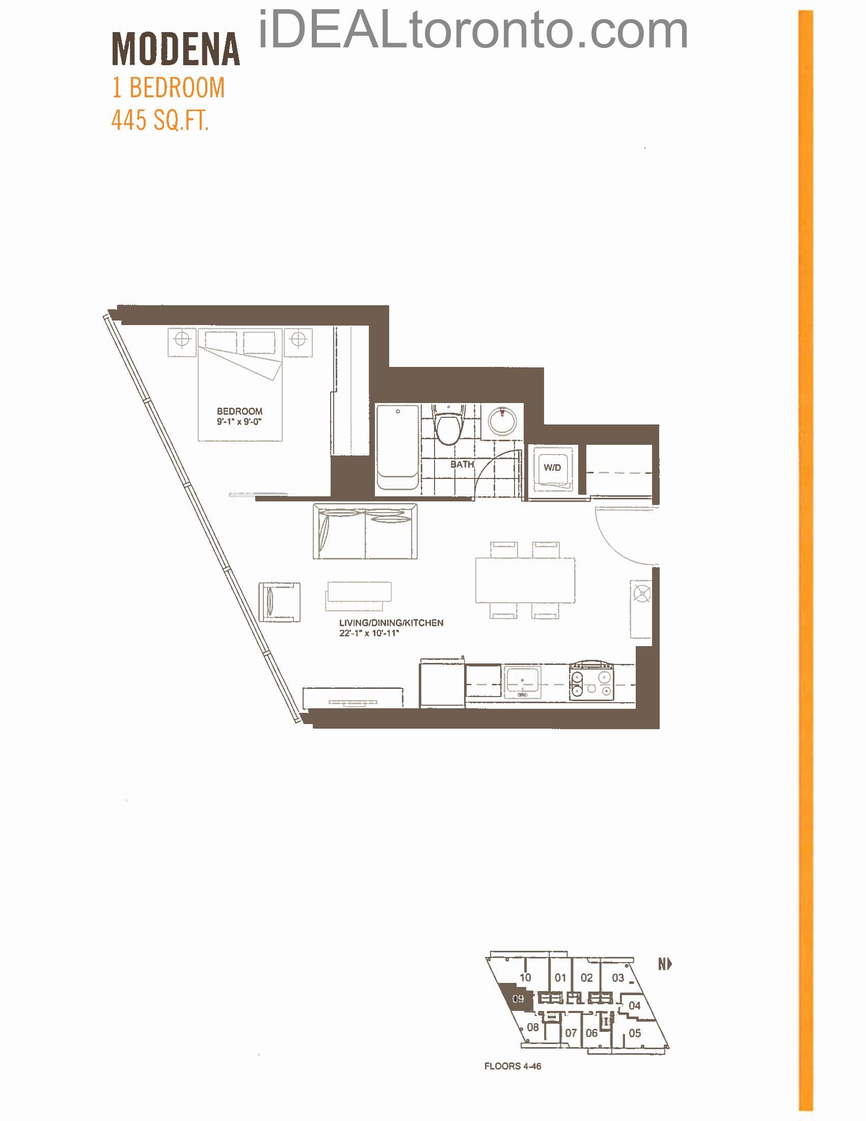 Modena: 1 Bedroom, S, 445 SqFt