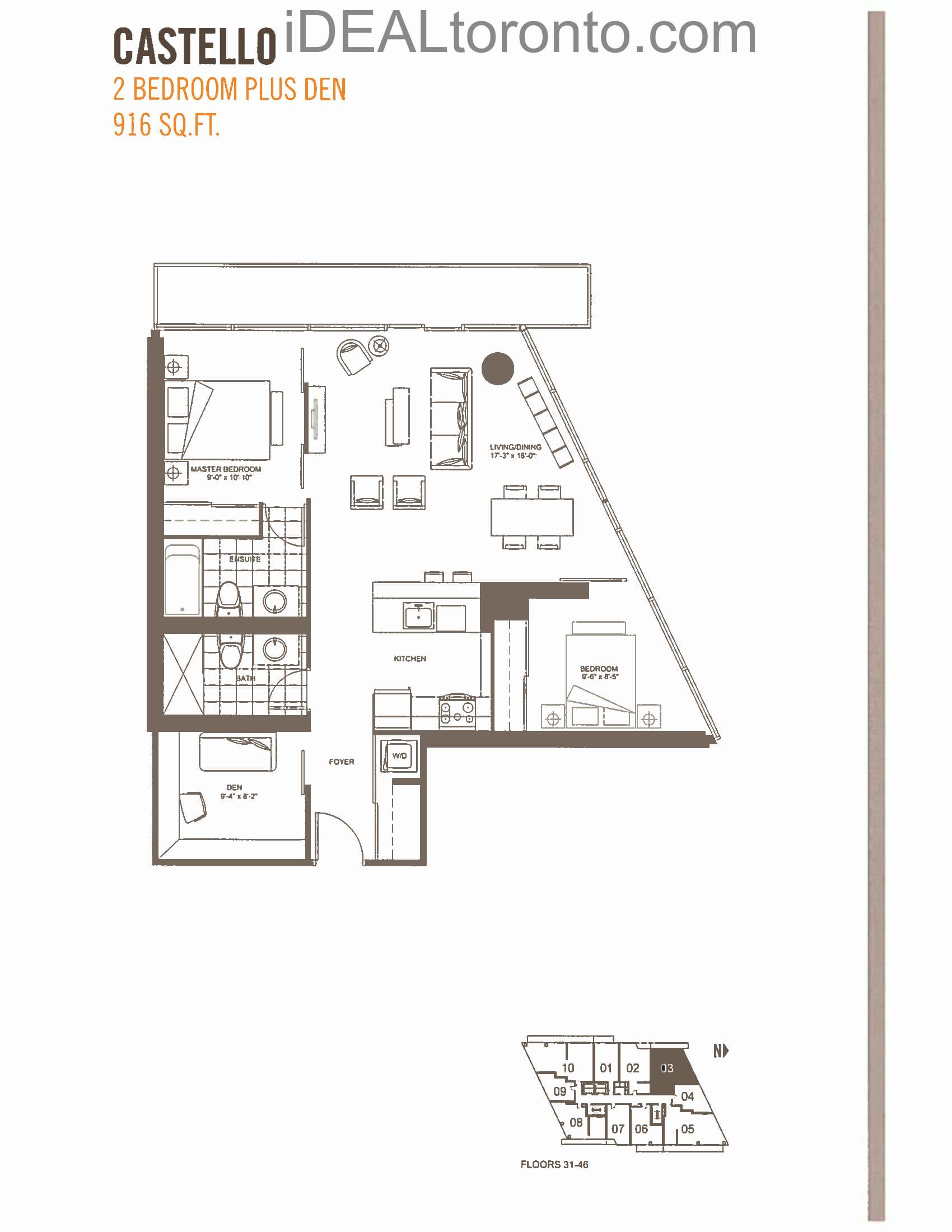 Castello : 2+1 Bedroom,NW, 916 SqFt
