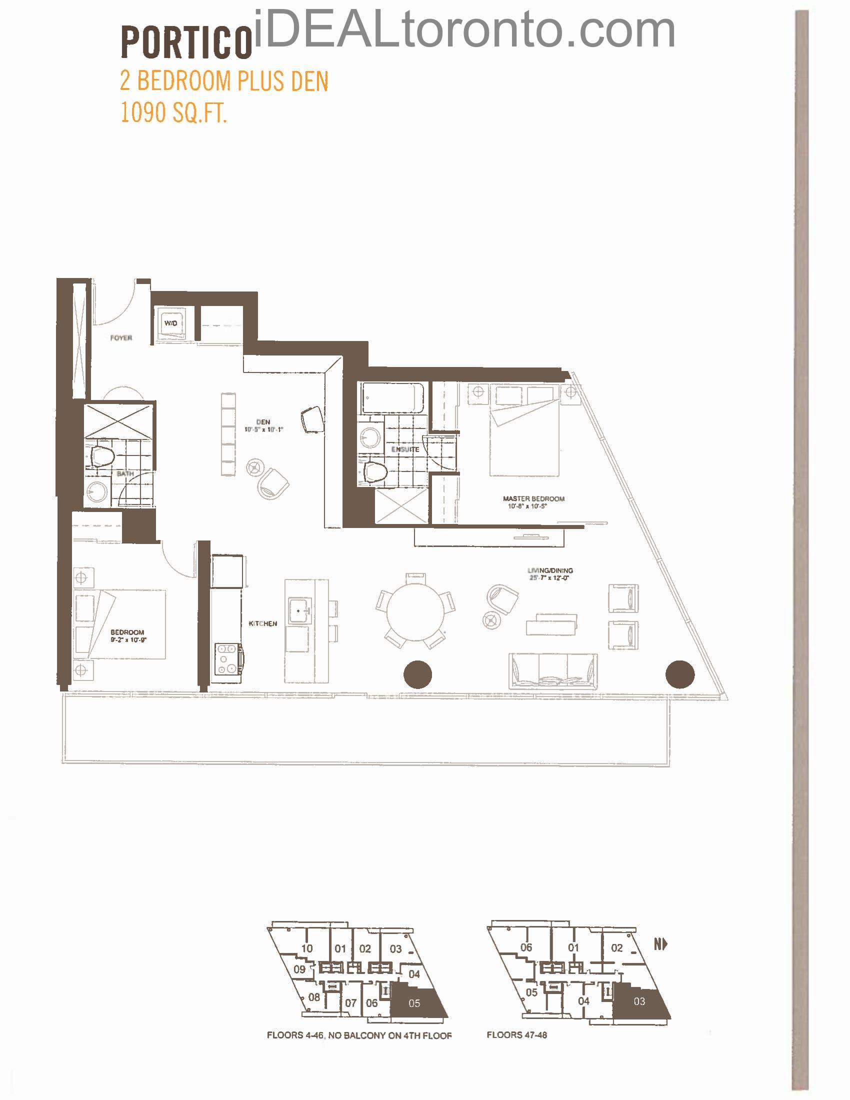 Portico : 2+1 Bedroom,NE, 1090 SqFt