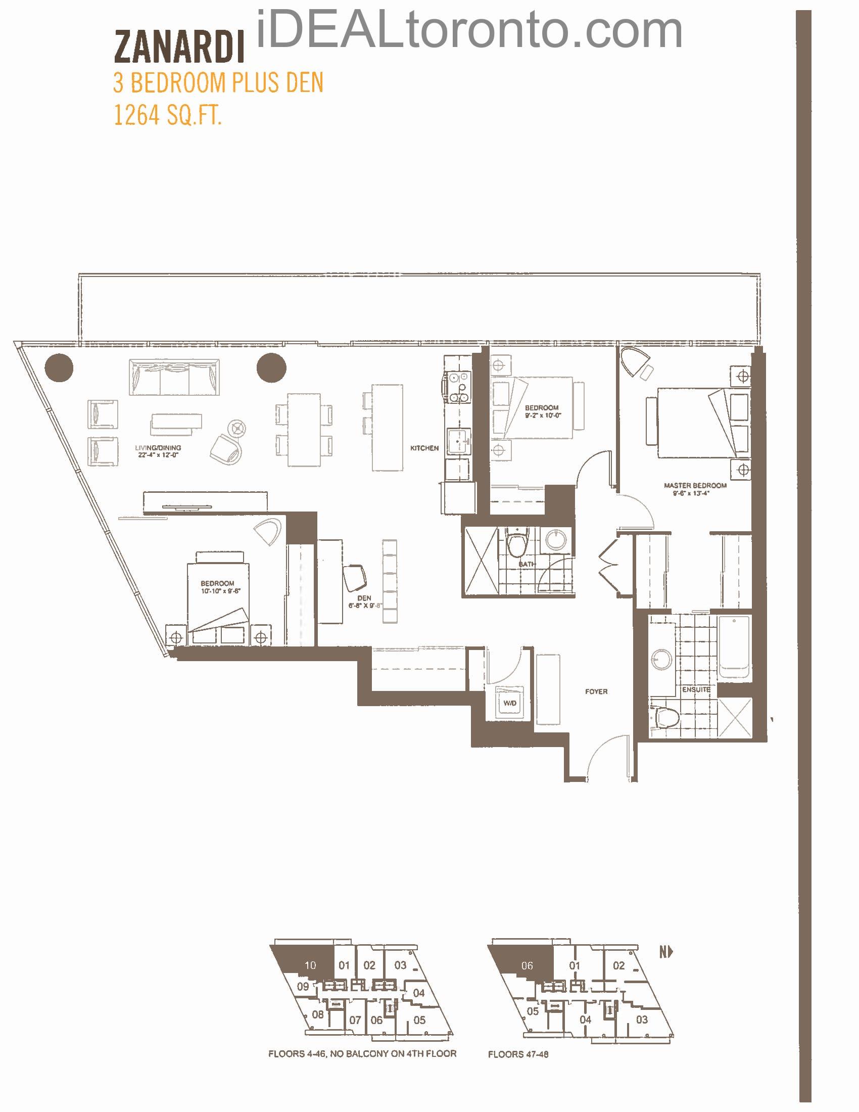 Zanardi: 3+1 Bedroom,SW, 1264 SqFt