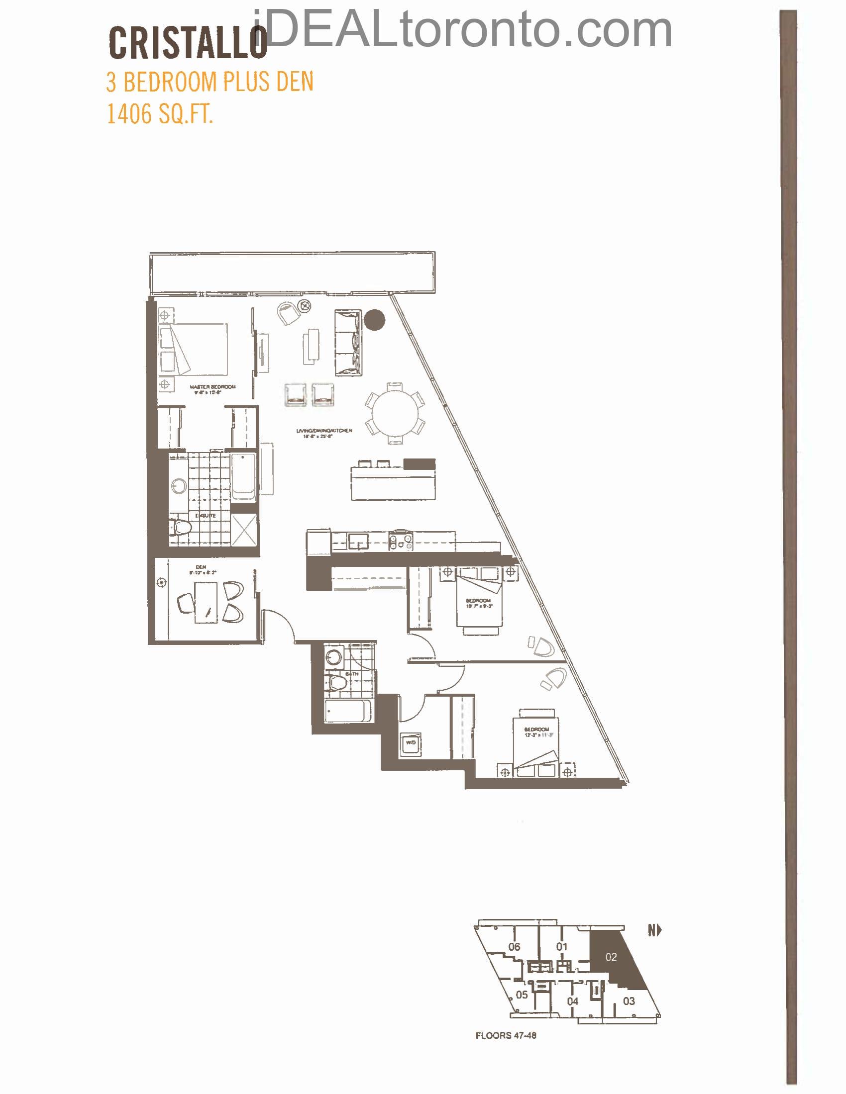 Cristallo: 3+1 Bedroom,NW, 1406 SqFt