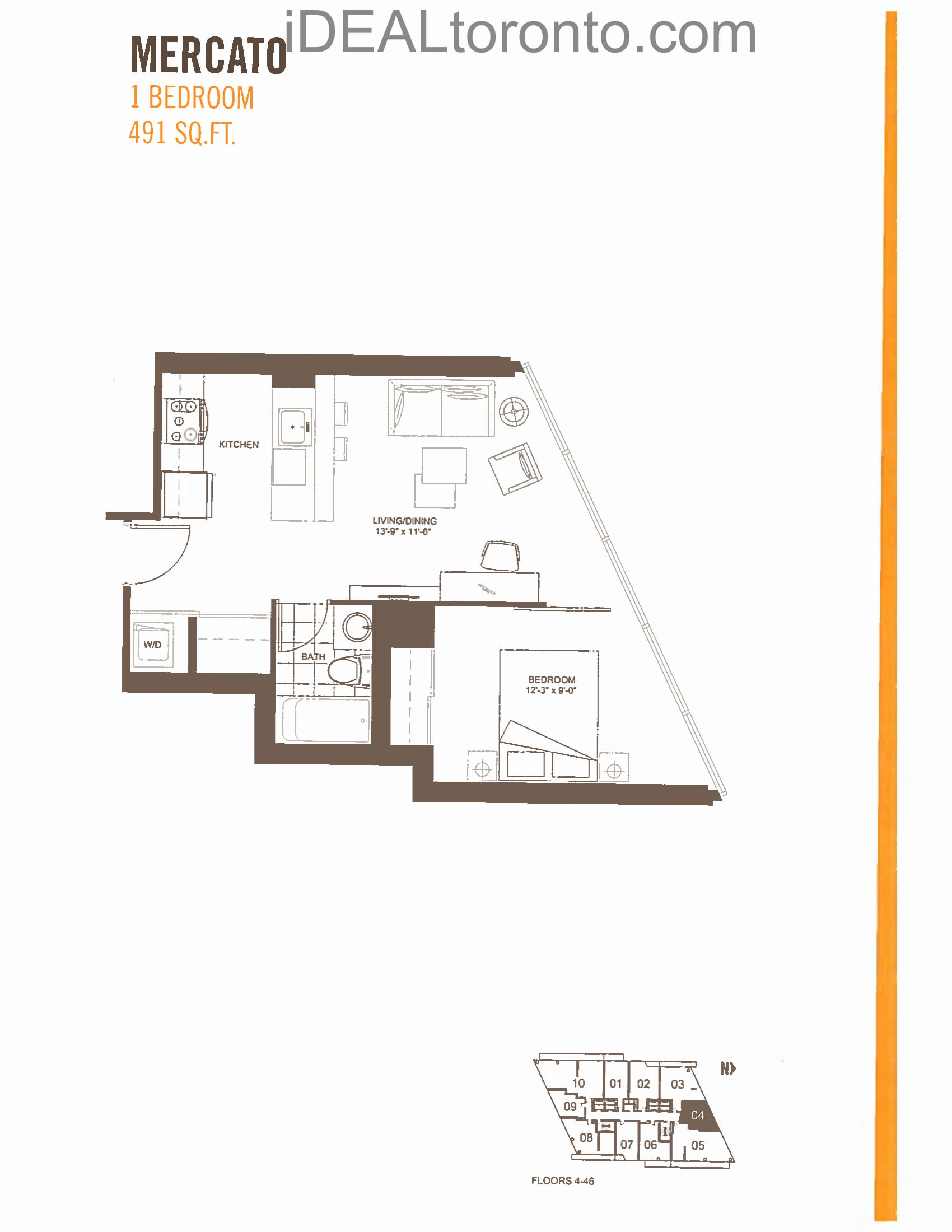 Mercato: 1 Bedroom,N, 491 SqFt