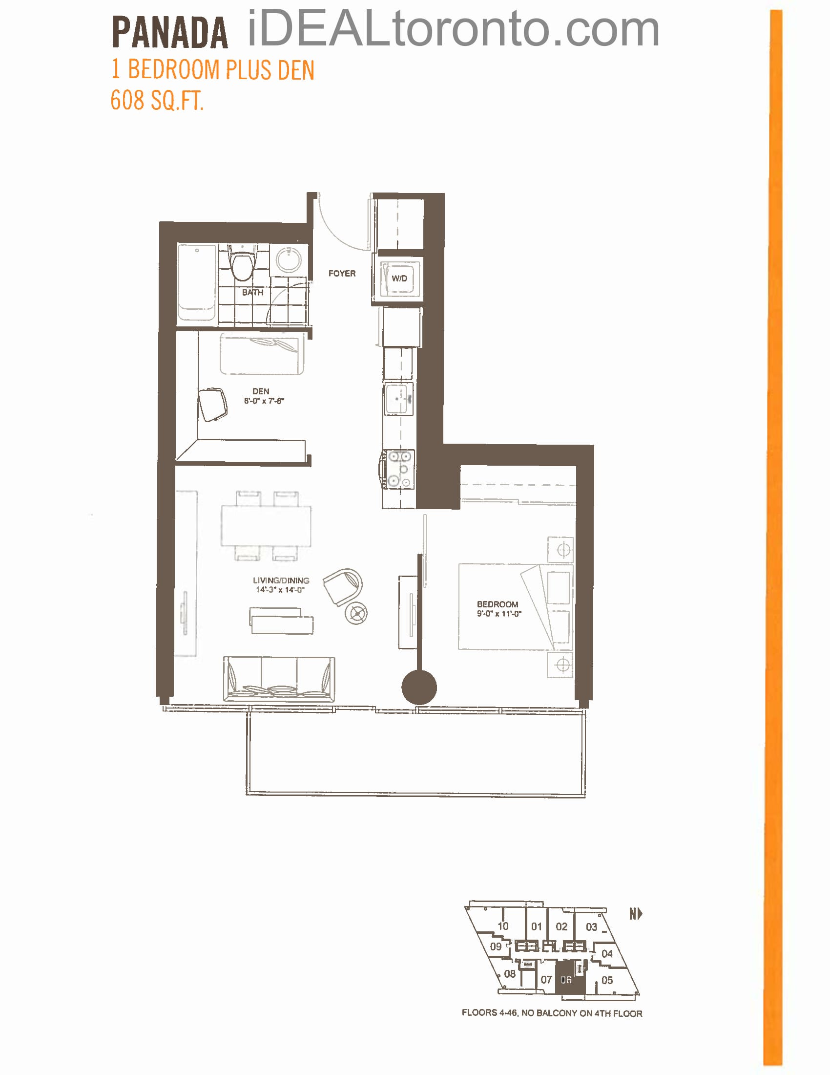 Panada: 1+1 Bedroom,E,608 SqFt