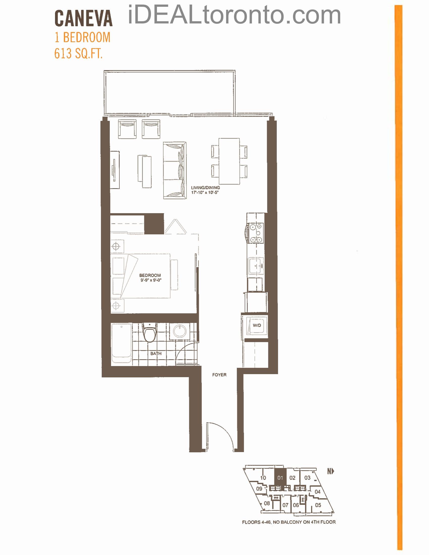 Caneva: 1 Bedroom,W, 613 SqFt