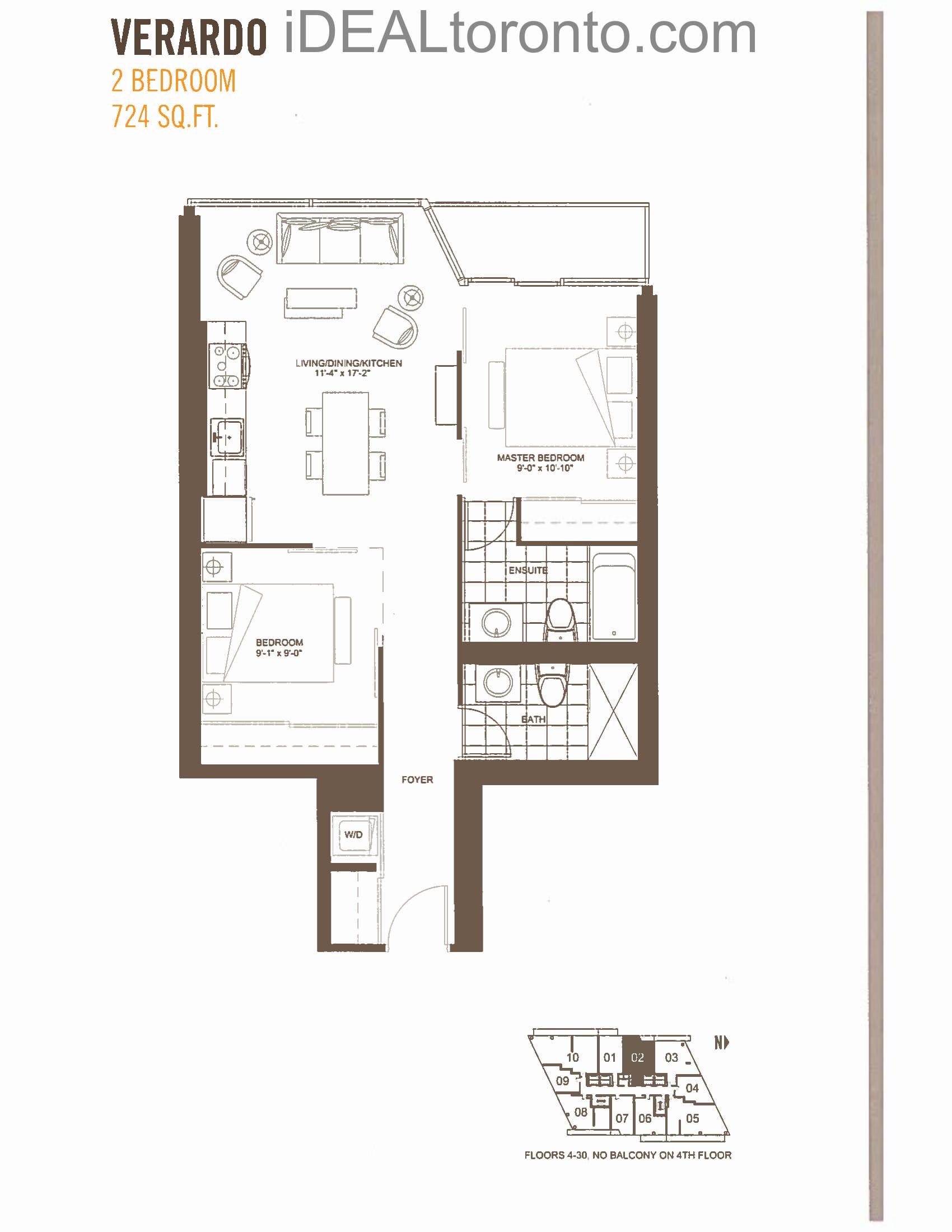 Verardo: 2 Bedroom,W, 724 SqFt