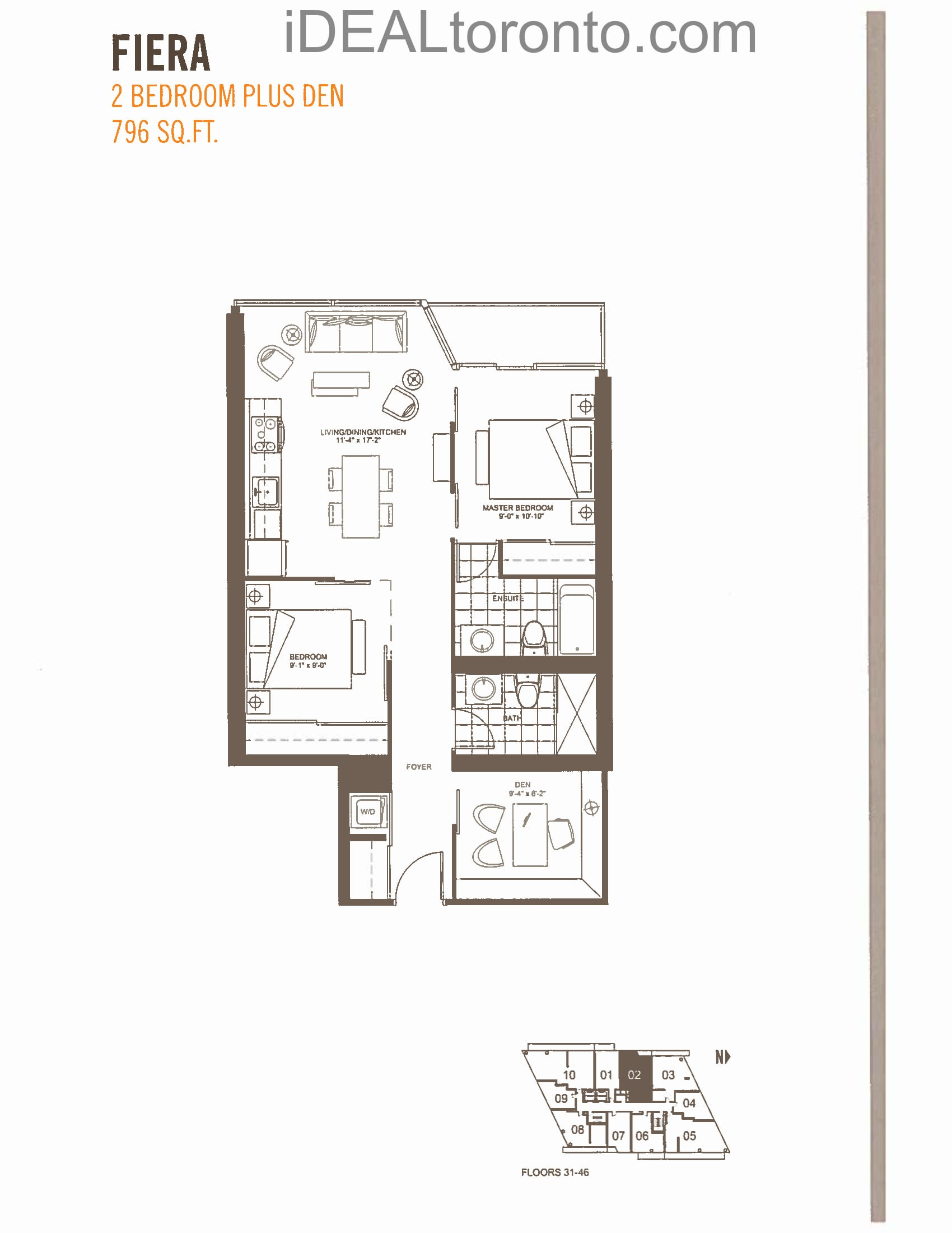 Fiera: 2+1 Bedroom,W, 796 SqFt