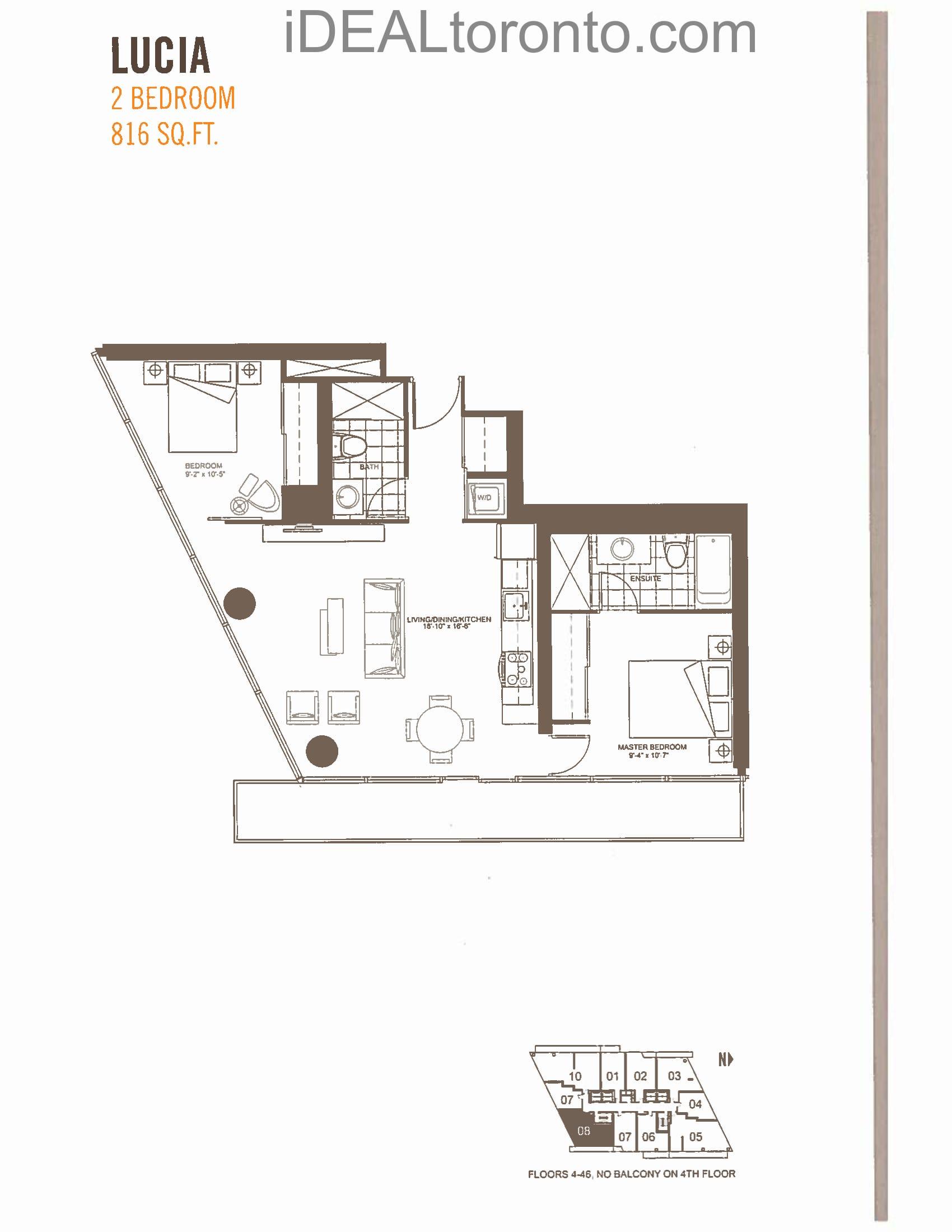 Lucia: 2 Bedroom,SE, 816 SqFt