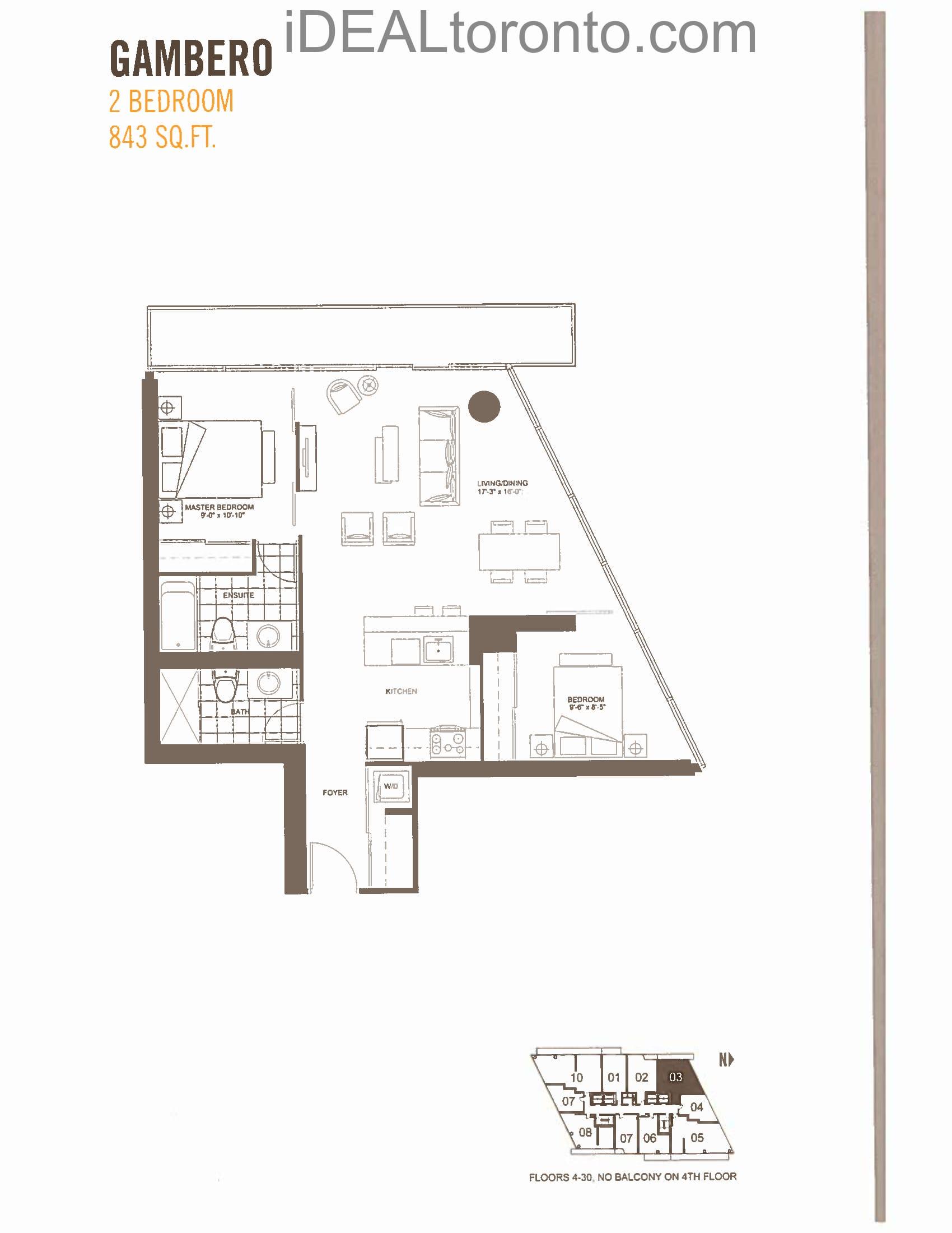 Gambero: 2 Bedroom,NW, 843 SqFt