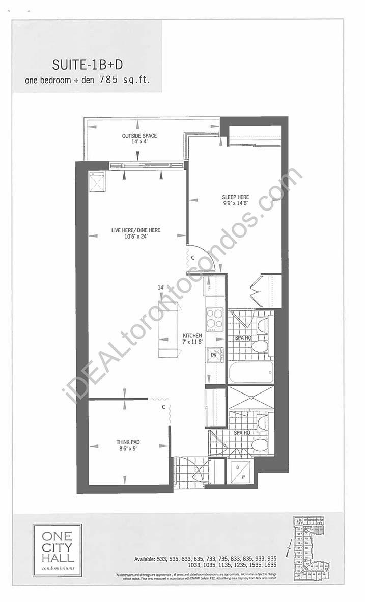Suite 1B + Den