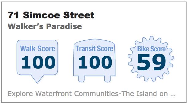 71 Simcoe Street Walk Score