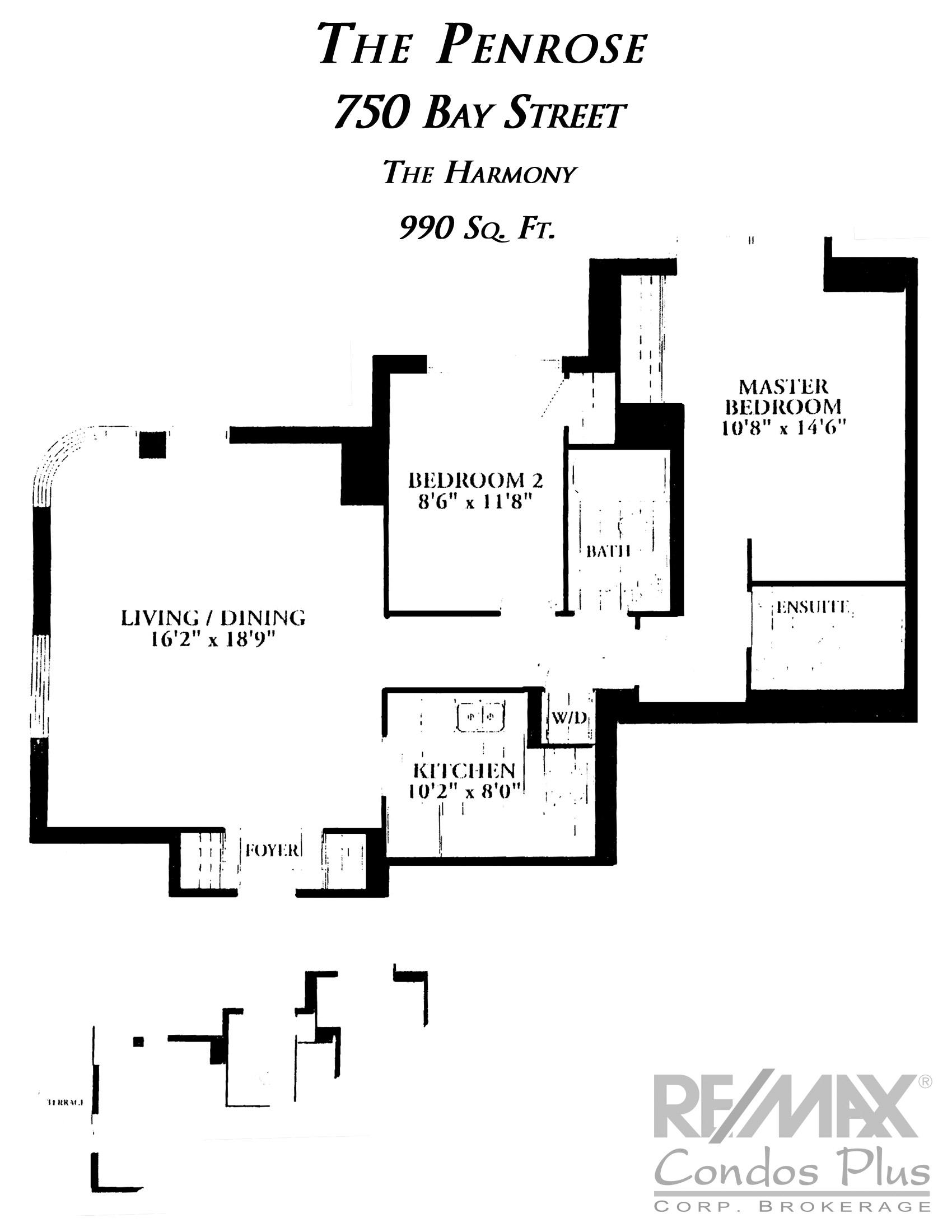 The Harmony: 2 Bedroom, 990 SqFt