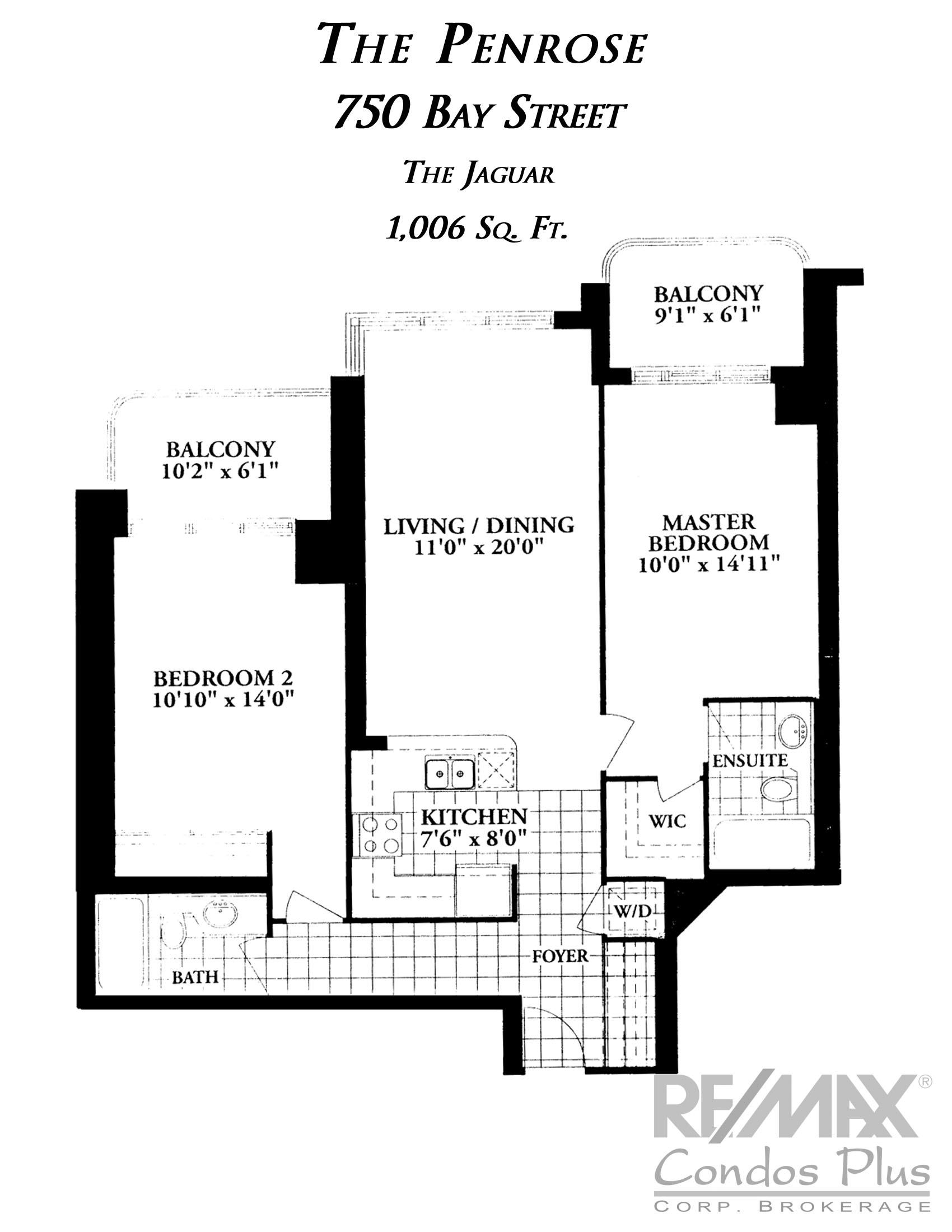 The Jaguar : 2 Bedroom , 1,006 SqFt