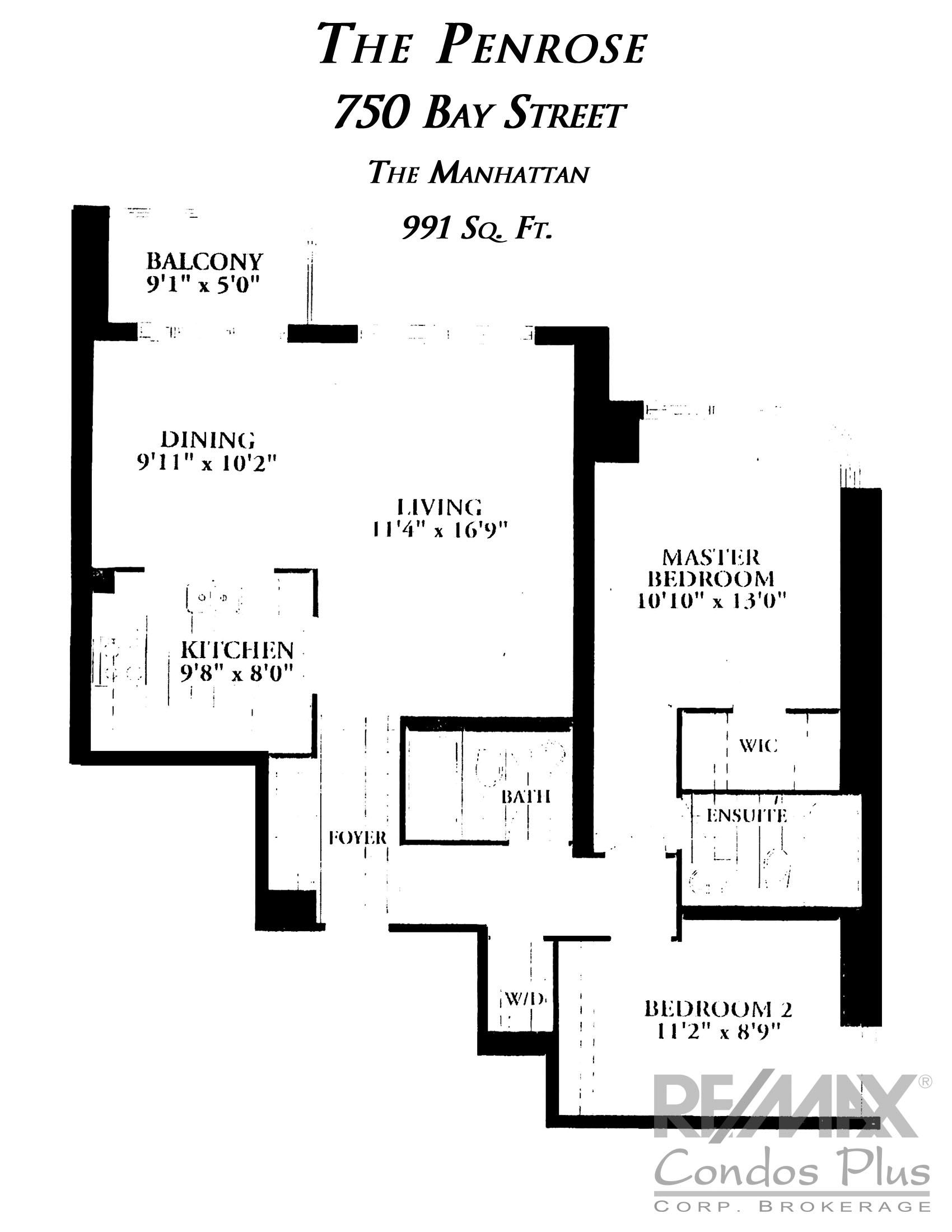 The Menhattan: 2 Bedroom, 991 SqFt