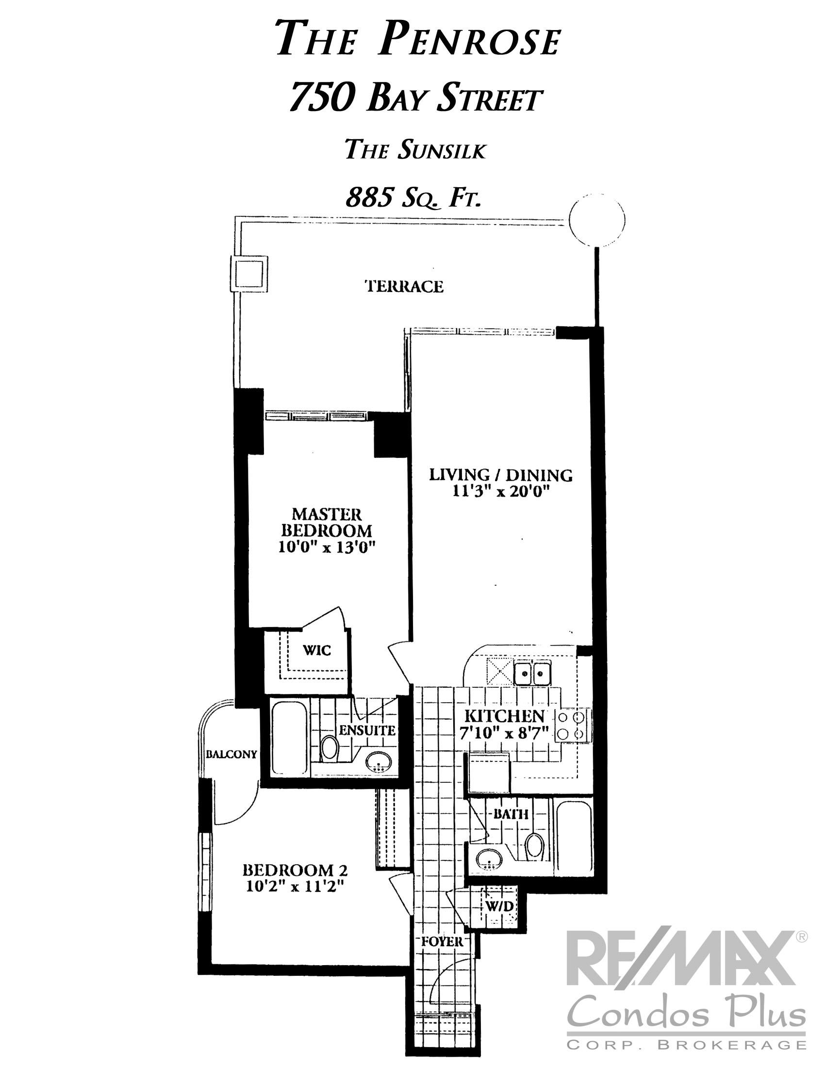 The Sunsilk: 2 Bedroom, 885 SqFt