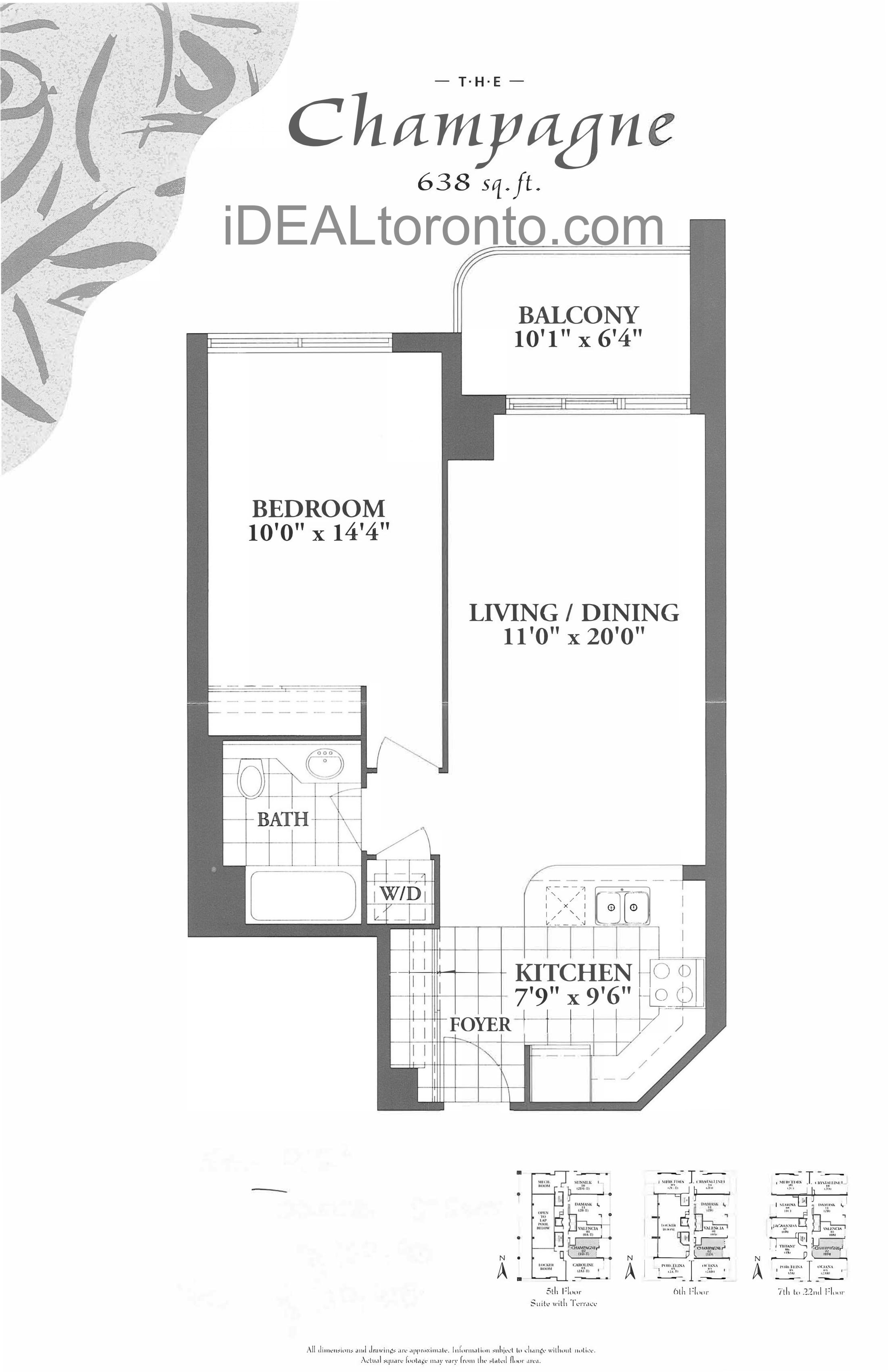 The Champagne: 1 Bedroom, 638 SqFt