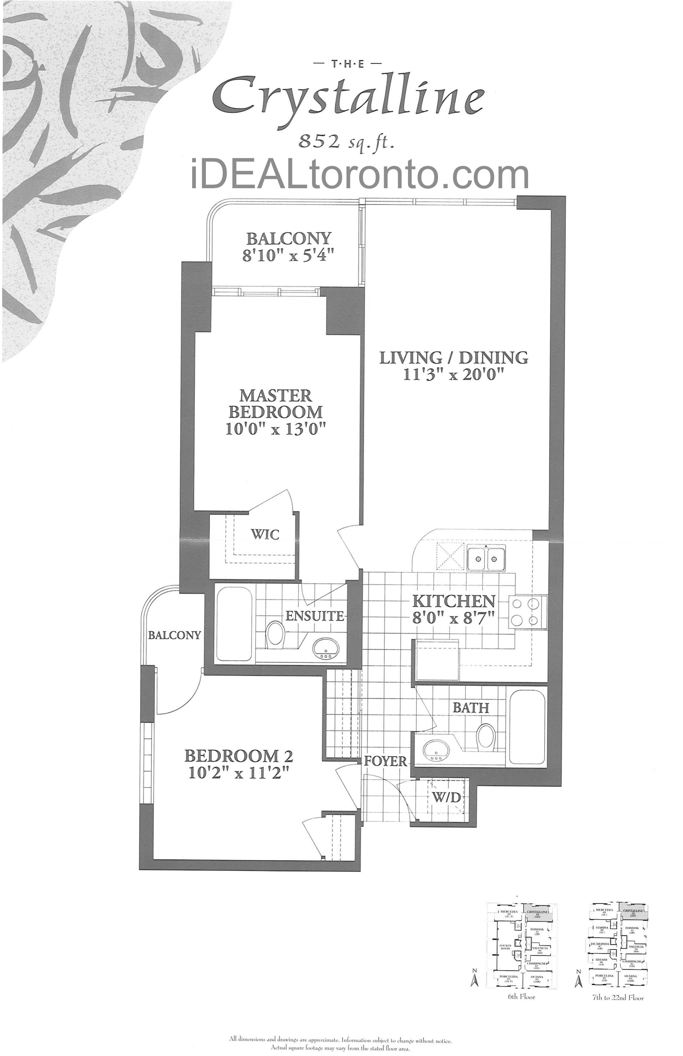 The Crystalline: 2 Bedroom, 852 SqFt