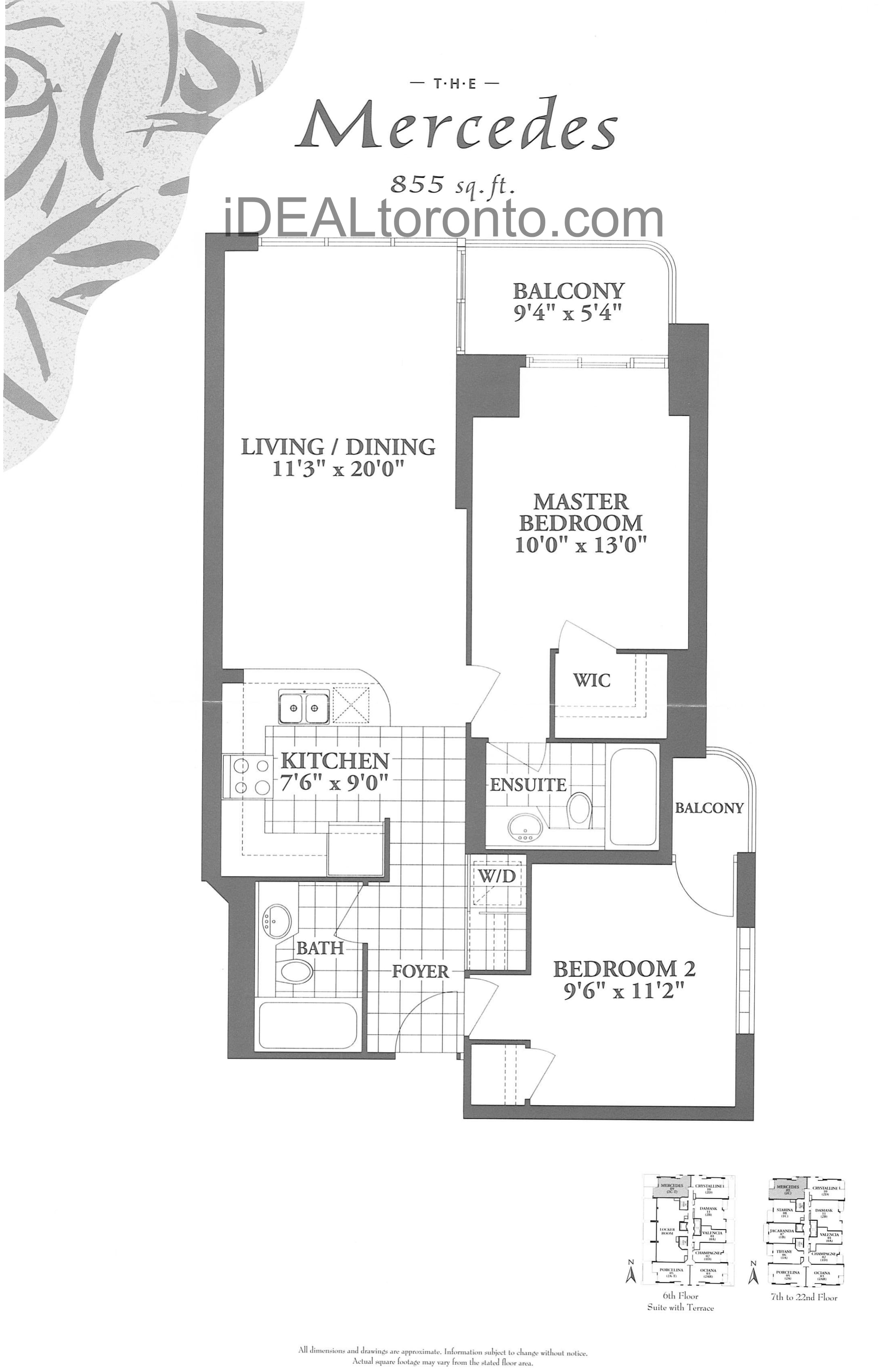 The Mercedes: 2 Bedroom, 855 SqFt