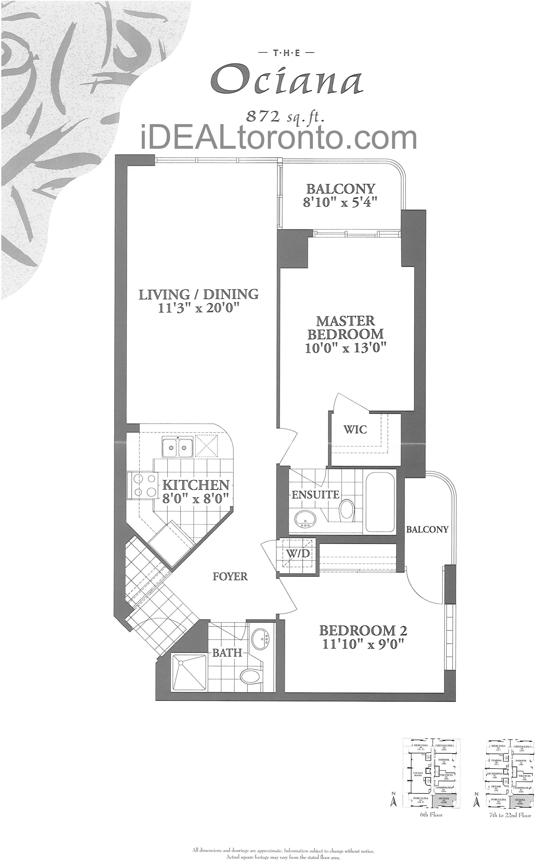 The Ociana: 2 Bedroom, 872 SqFt