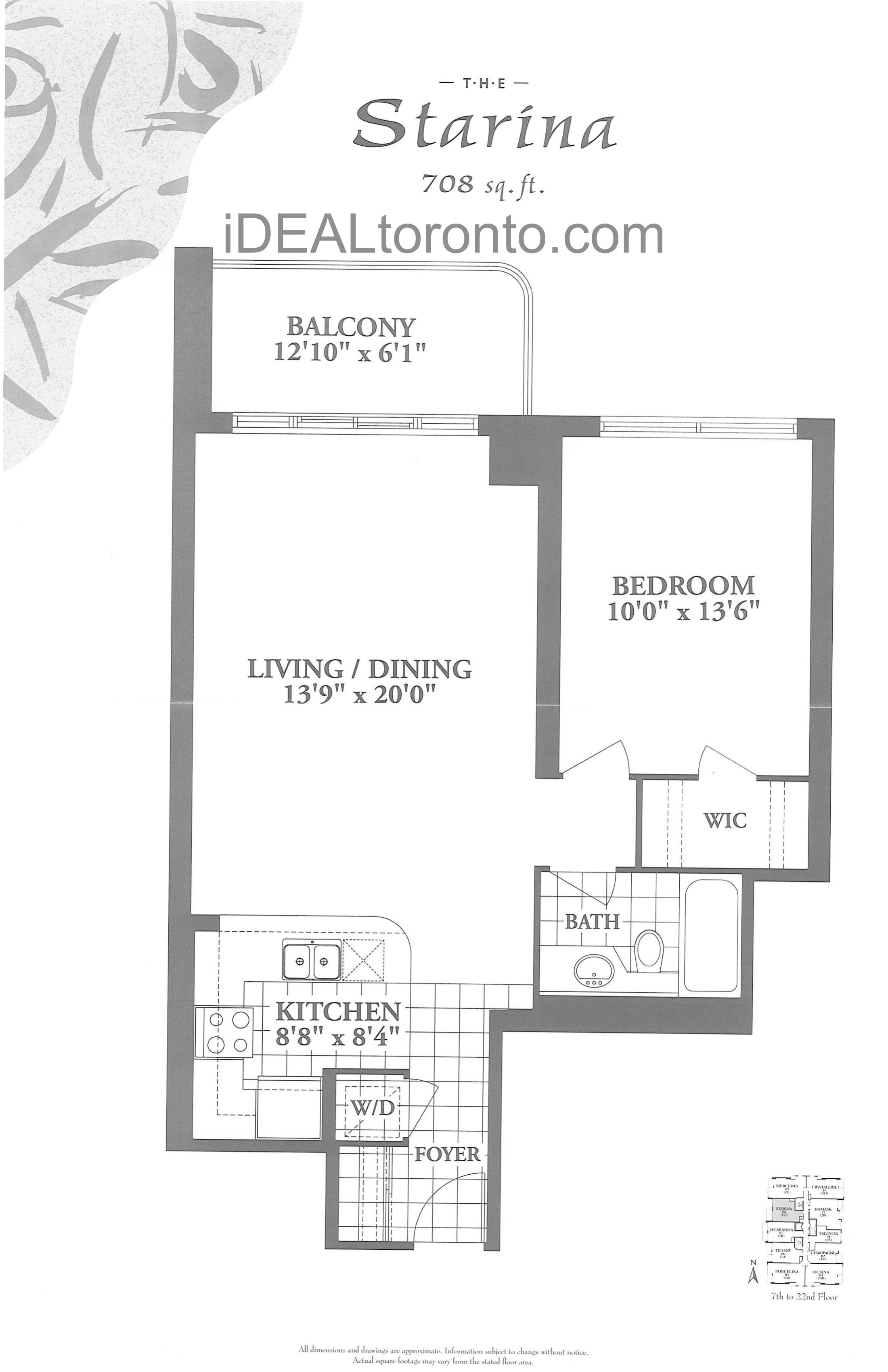 The Starina: 1 Bedroom, 708 SqFt