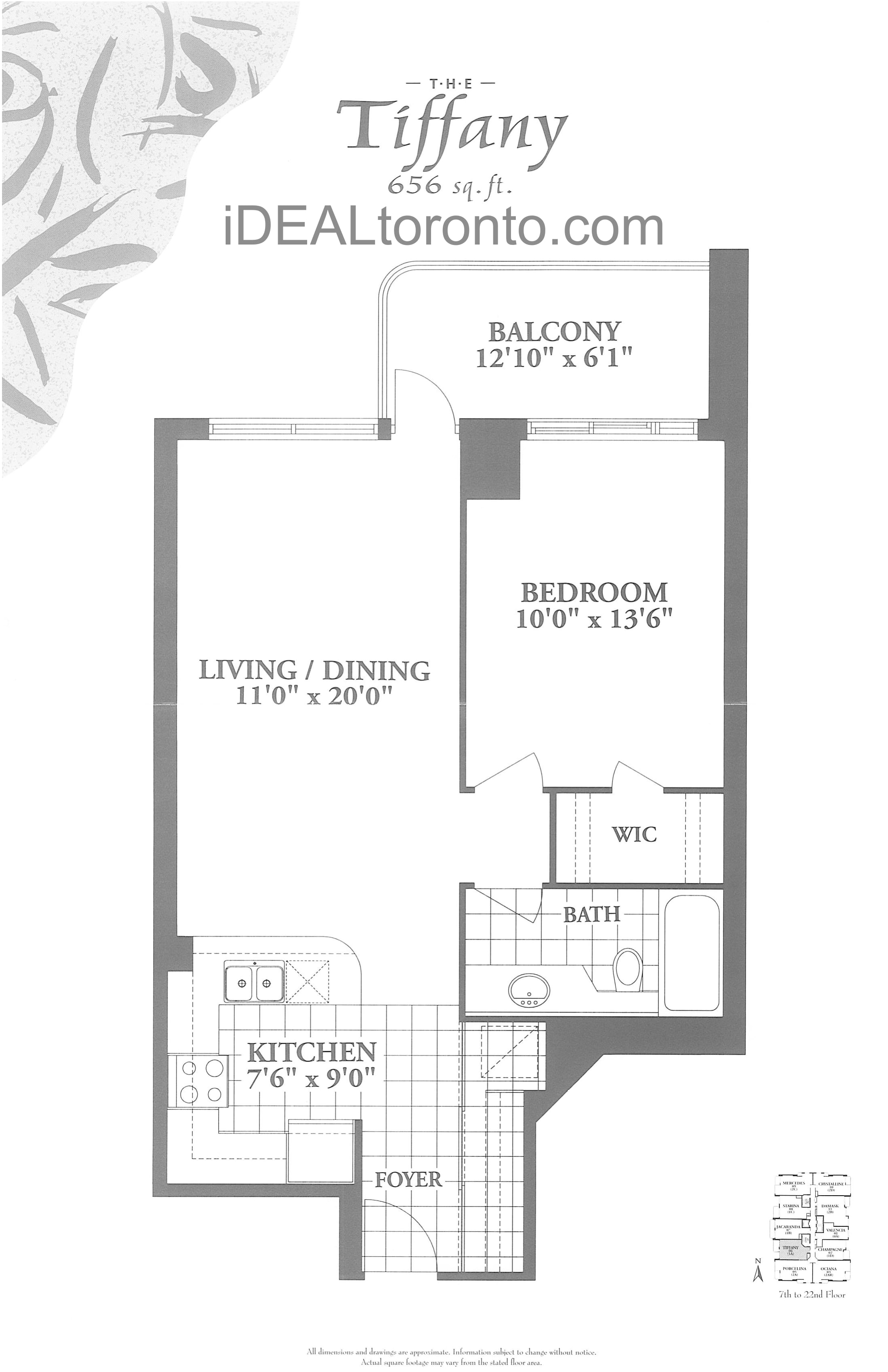 The Tiffany: 1 Bedroom, 656 SqFt