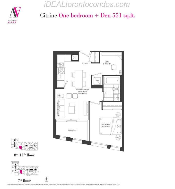 Citrine One bedroom + Den - Phase 1