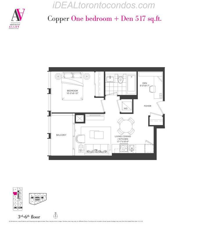 Copper One bedroom + Den - Phase 1