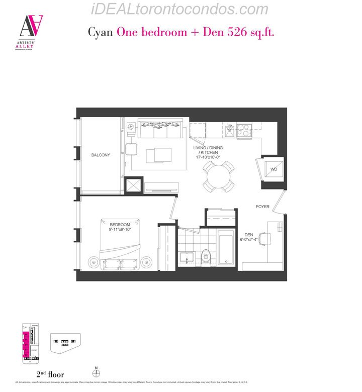 Cyan One bedroom + Den - Phase 1