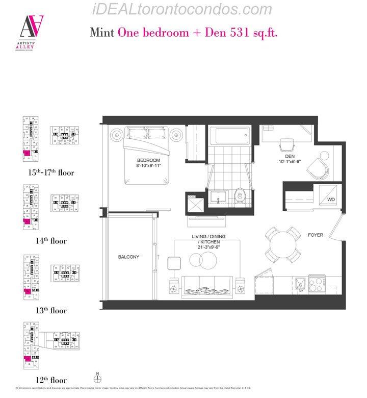 Mint One bedroom + Den - Phase 1