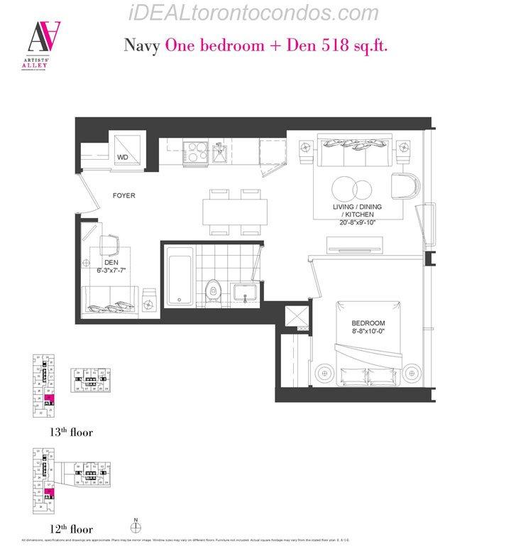 Navy One bedroom + Den - Phase 1