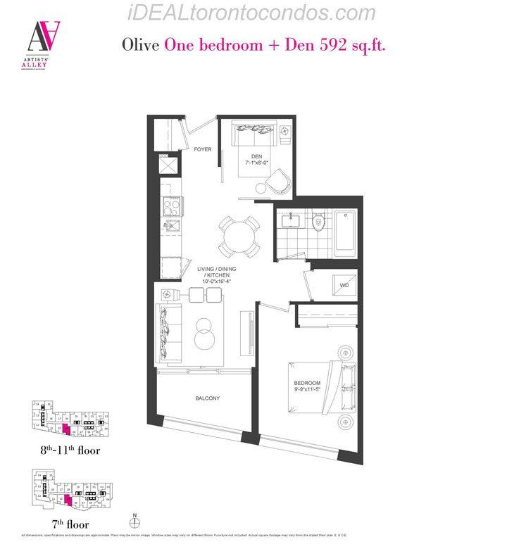Olive One bedroom + Den - Phase 1