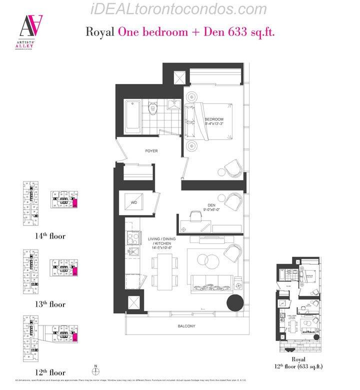 Royal One bedroom + Den - Phase 1