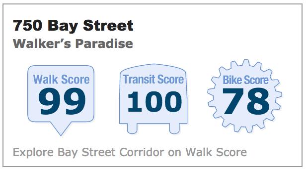 Walk Score 750 Bay Street