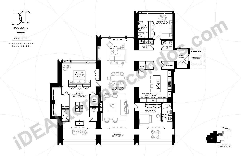 Suite 9 N | 3 Bedroom + Den