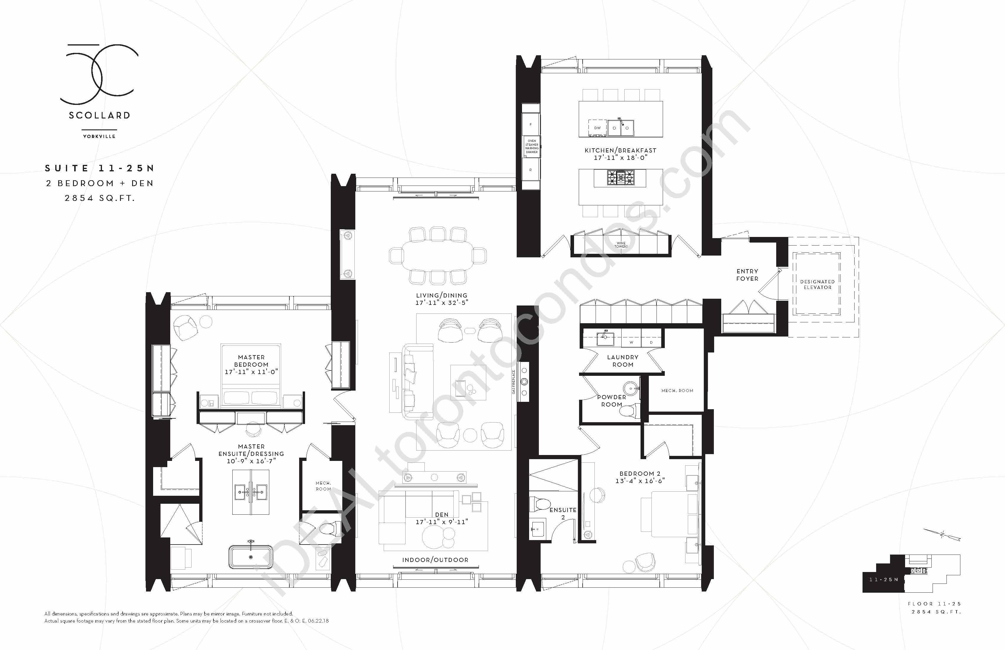 Suite 11-25 N | 2 Bedroom + Den
