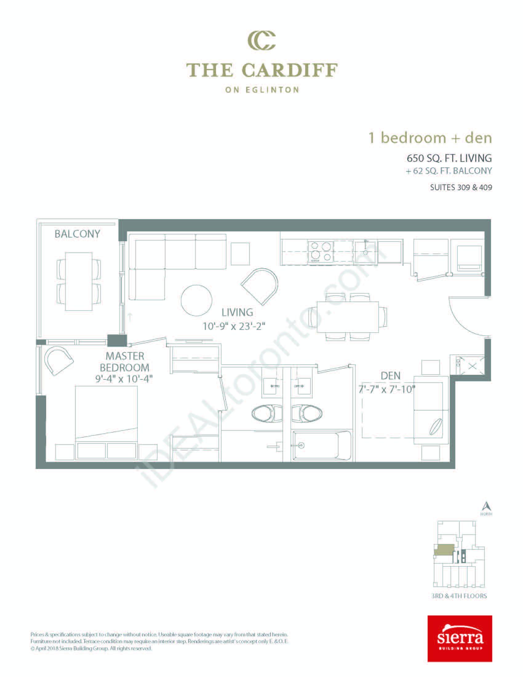 1 Bedroom + Den + Balcony