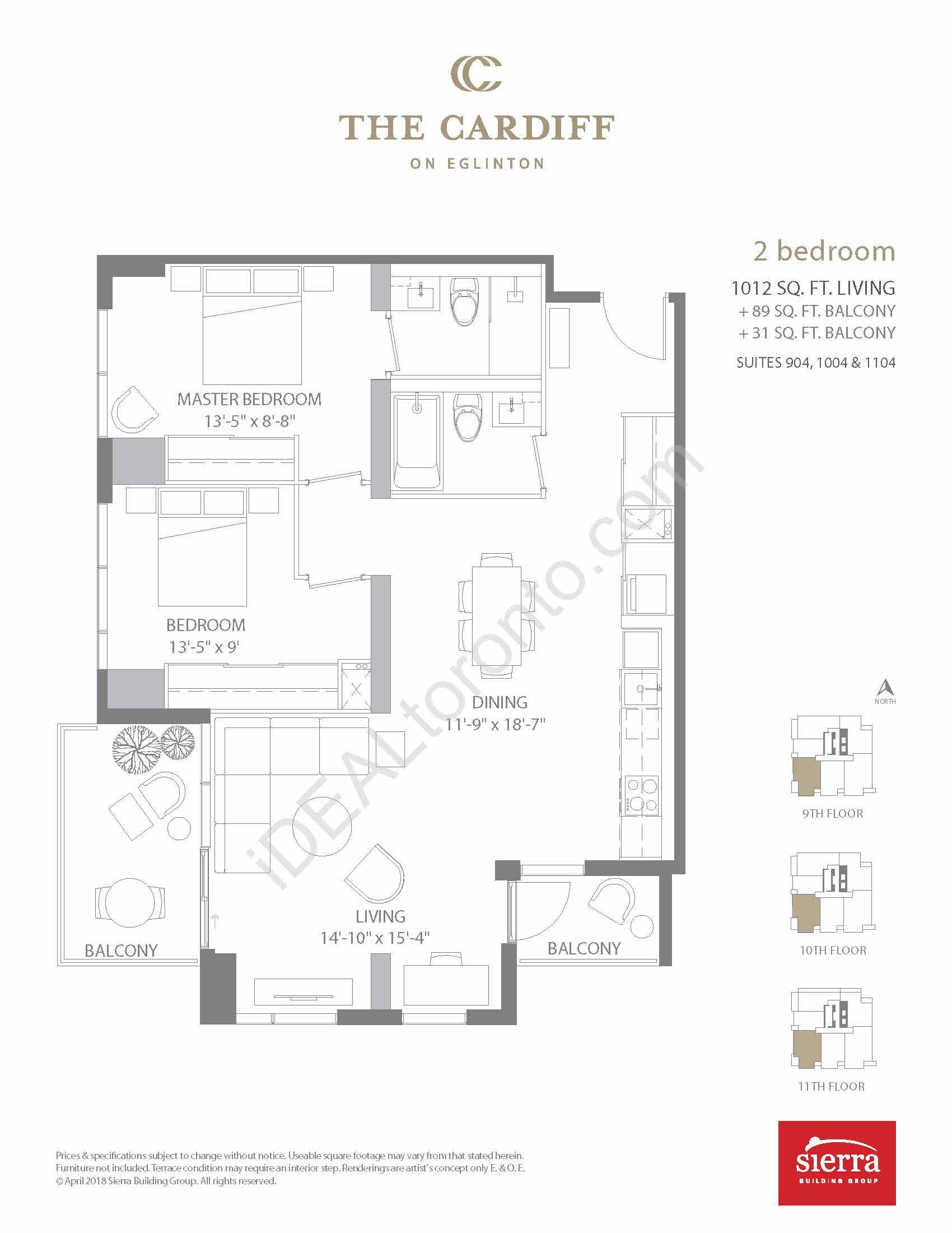 2 Bedroom + 2 Balconies