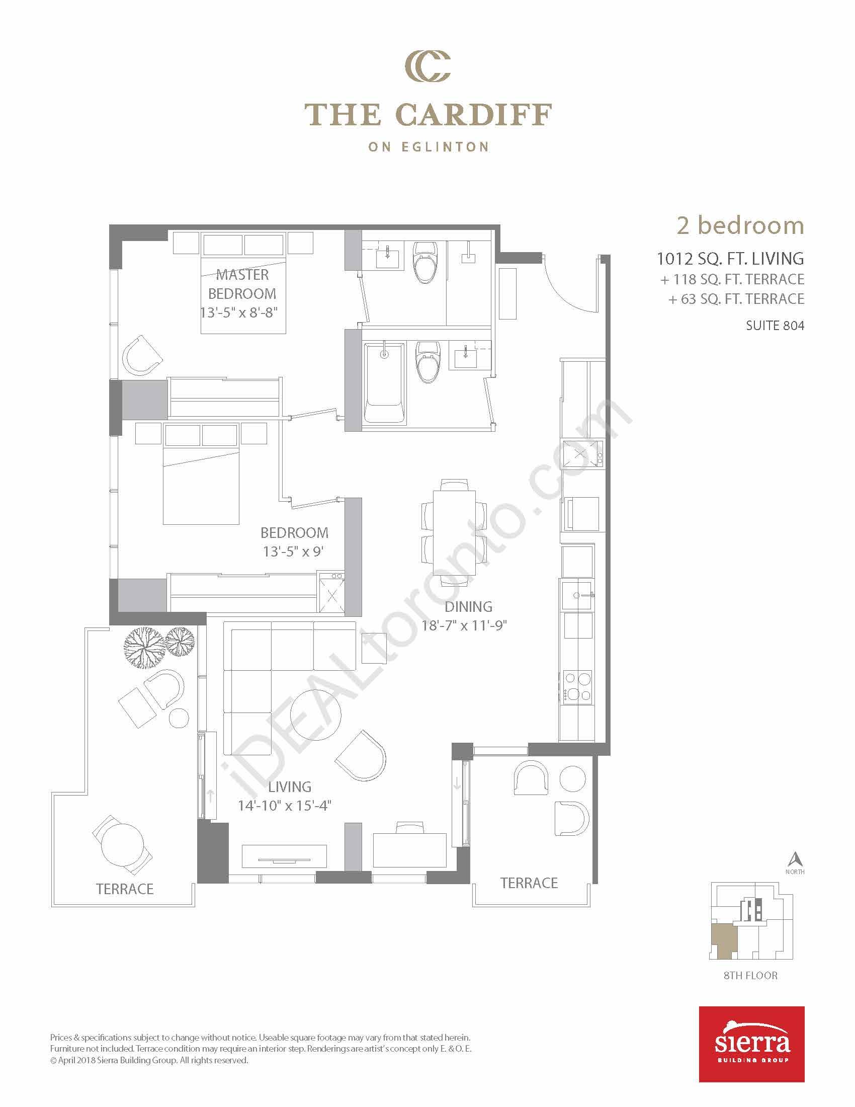 2 Bedroom + 2 Terraces