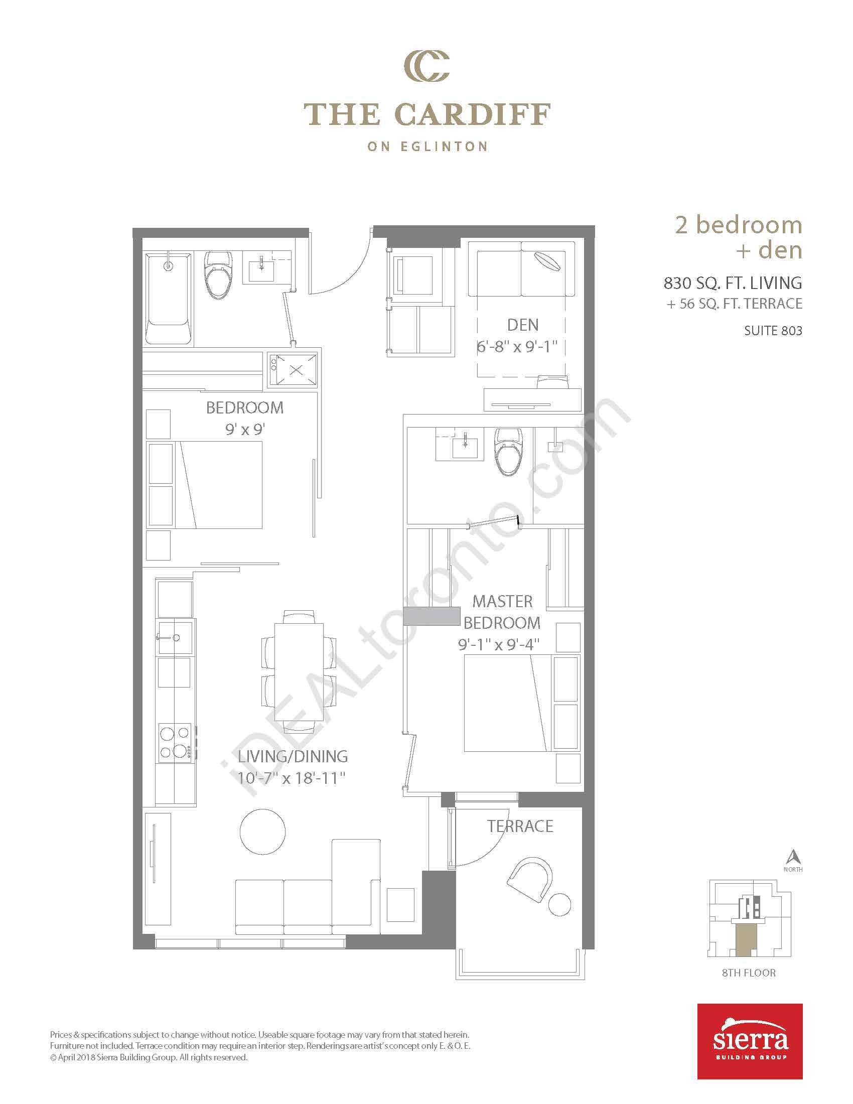 2 Bedroom + Den + Terrace