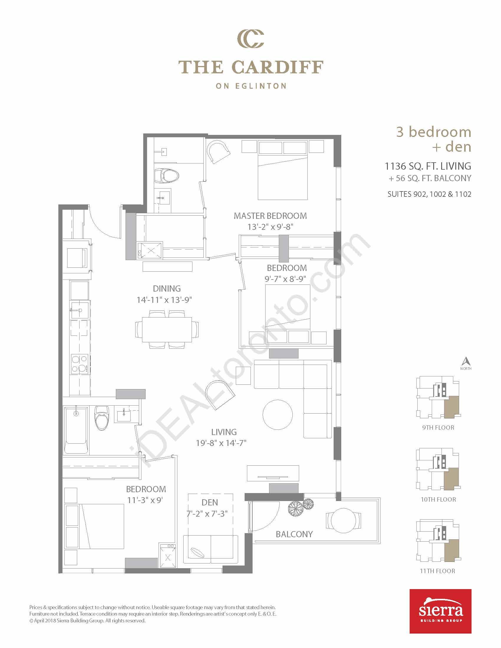 3 Bedroom + Den + Balcony
