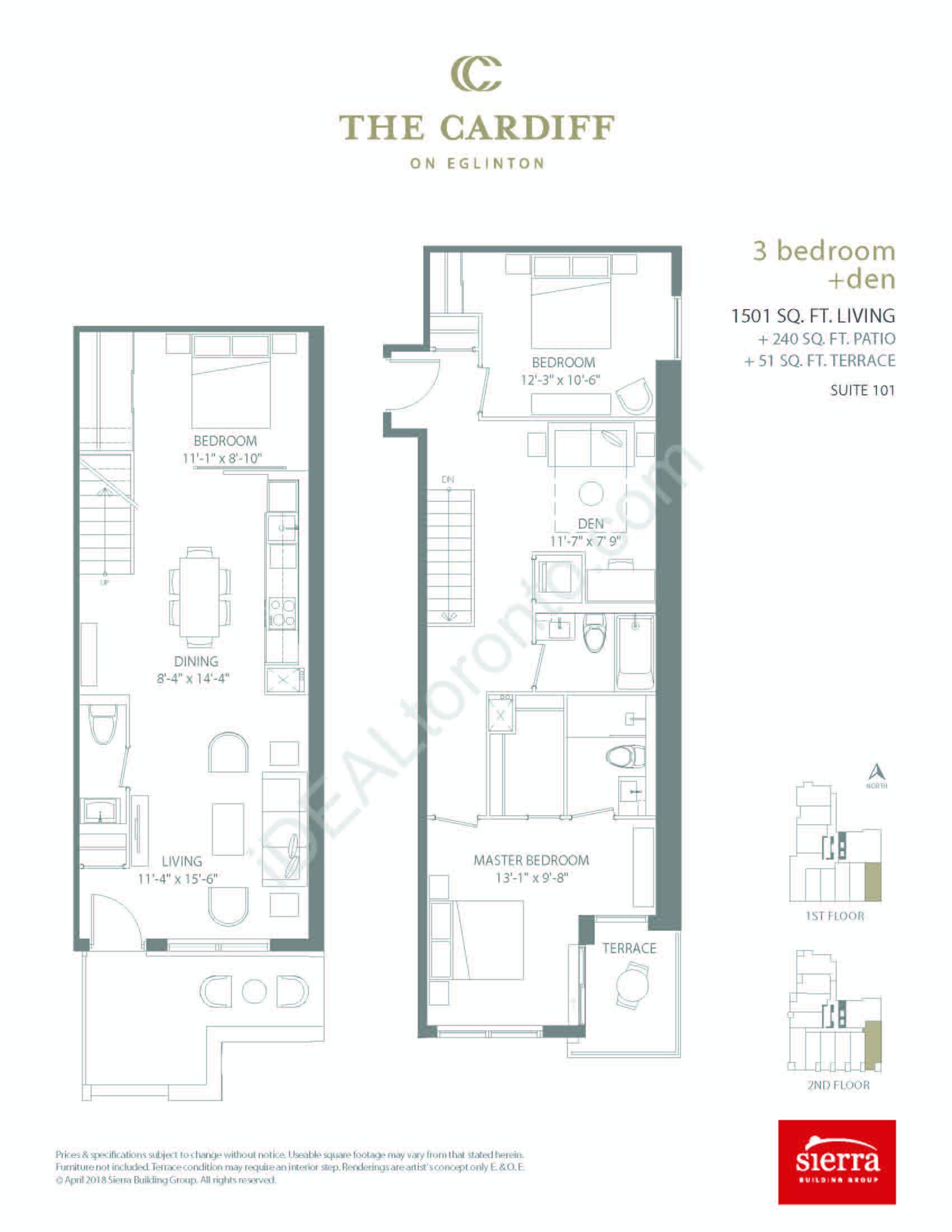 3 Bedroom + Den + Patio + Terrace