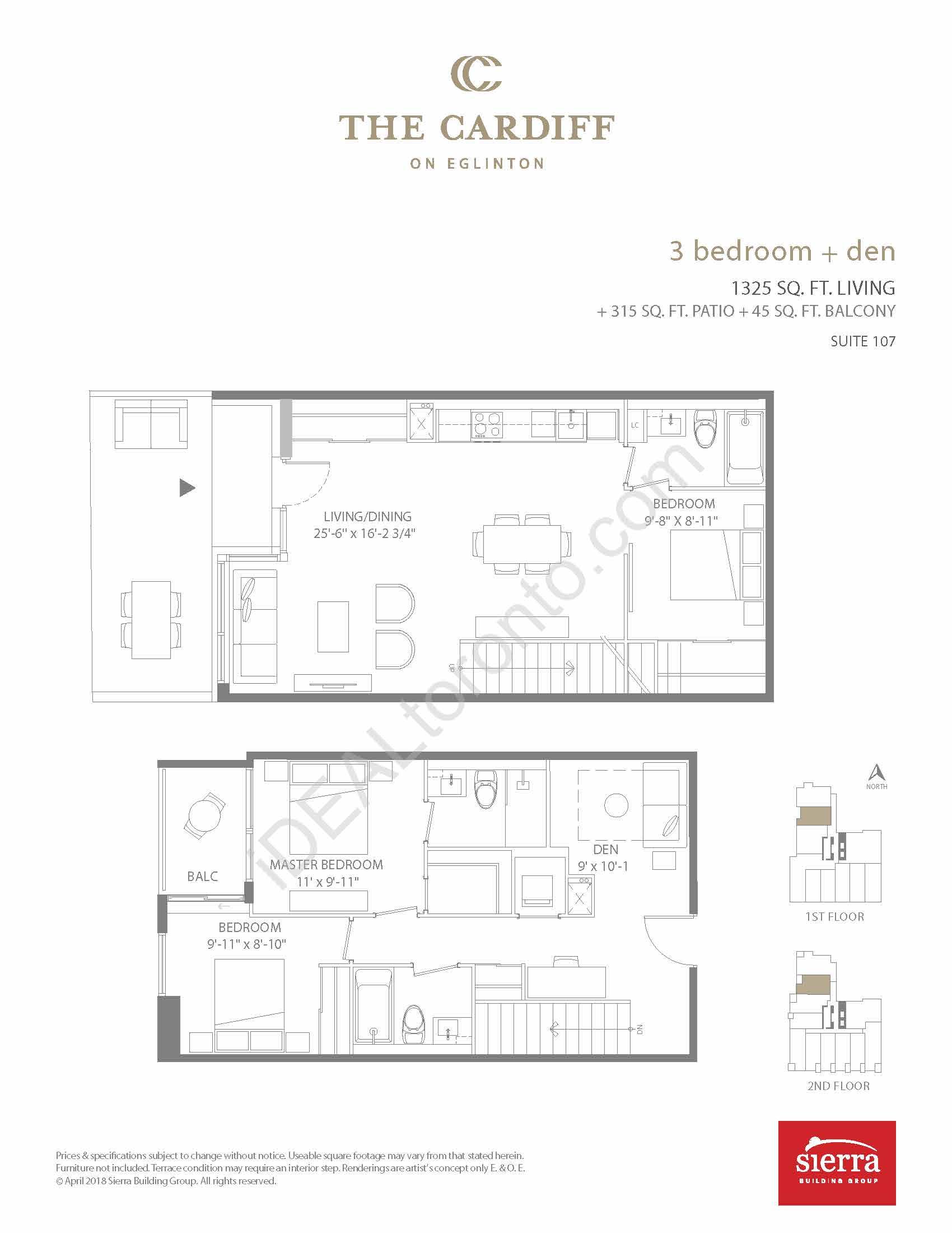 3 Bedroom + Den + Patio + Balcony