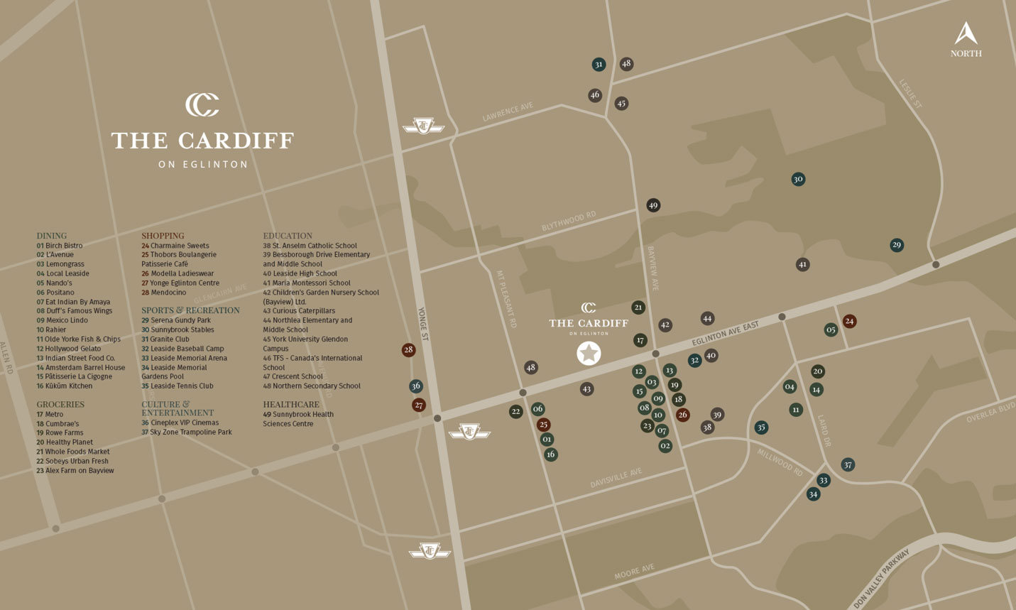 The Cardiff on Eglinton location map