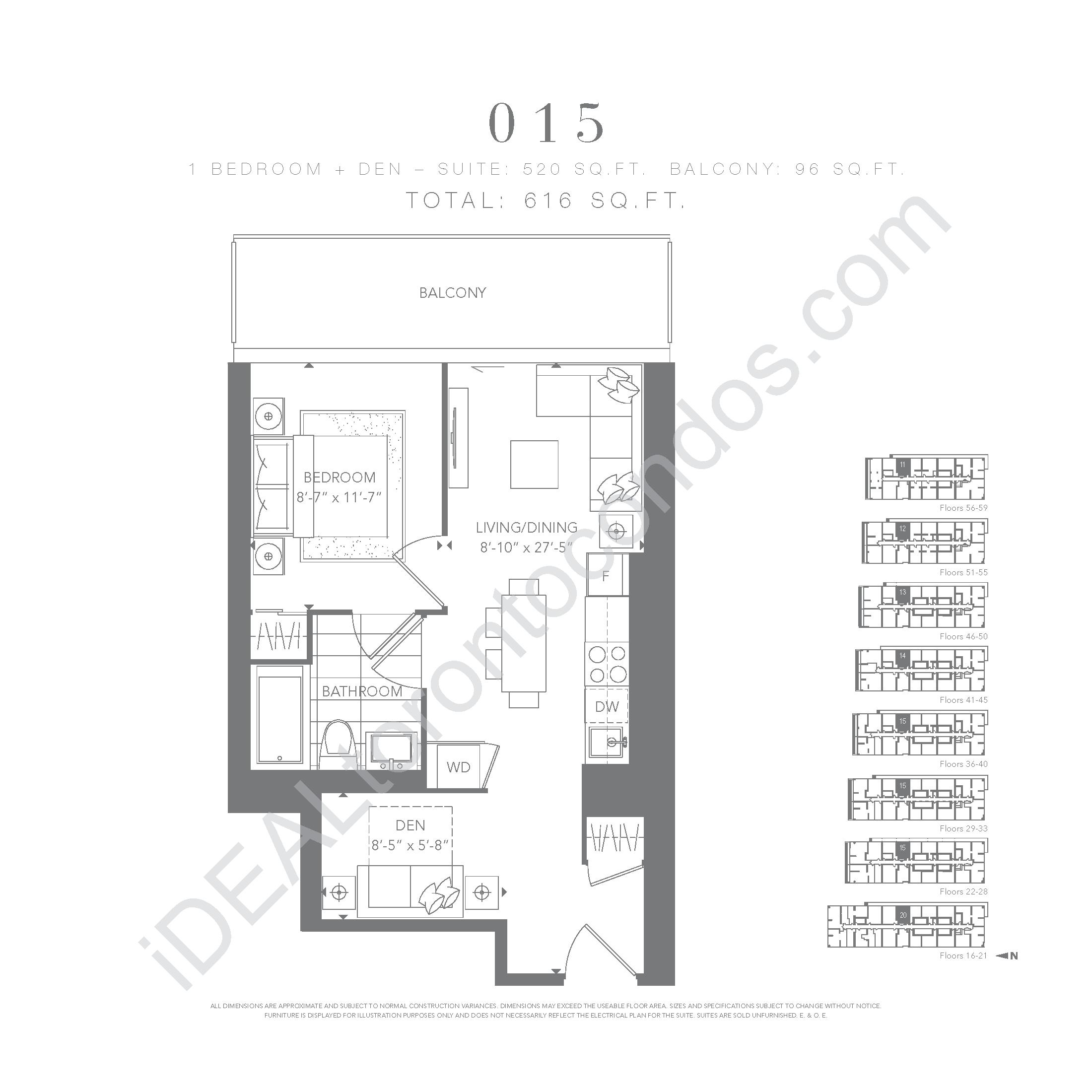 1 bedroom + den 015