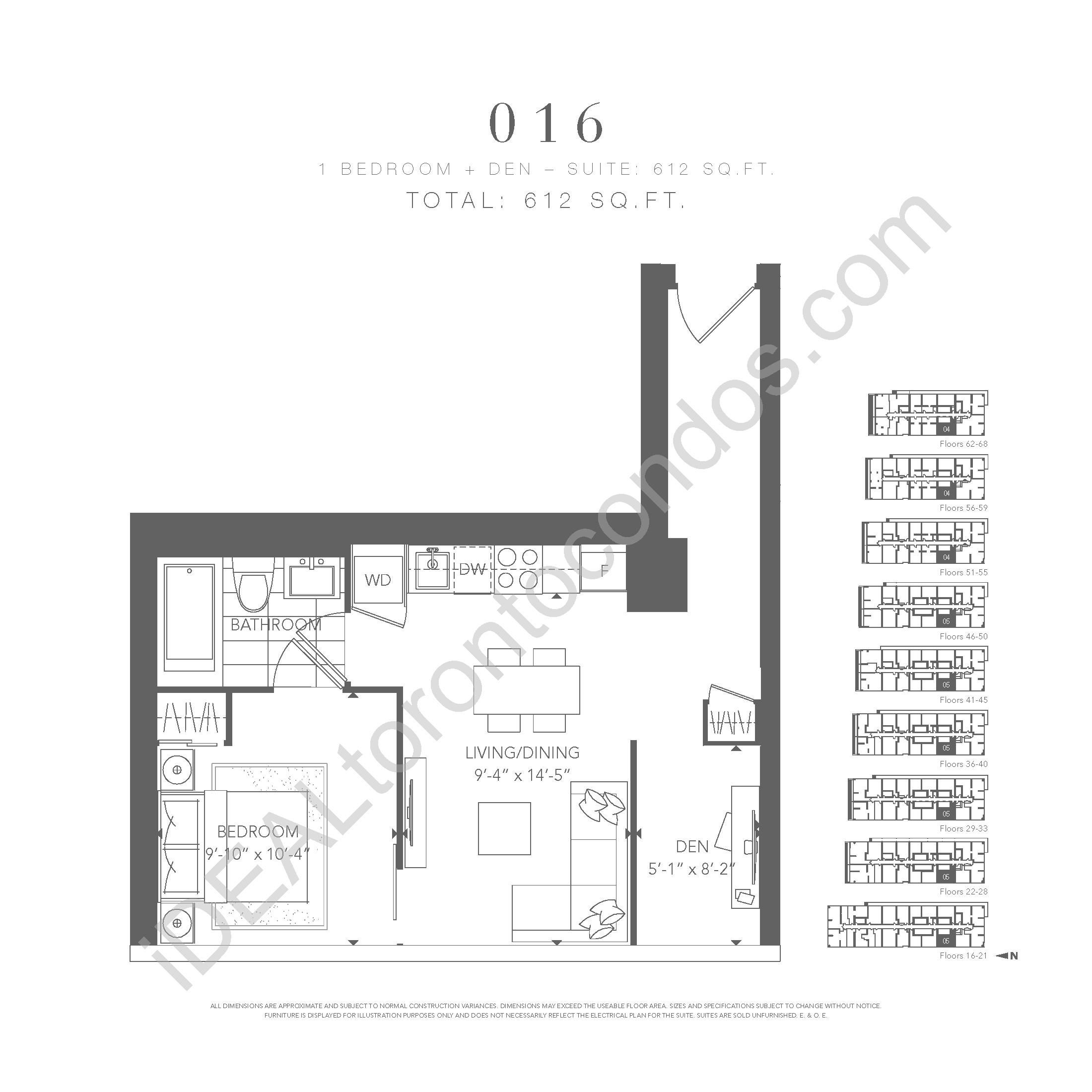 1 bedroom + den 016