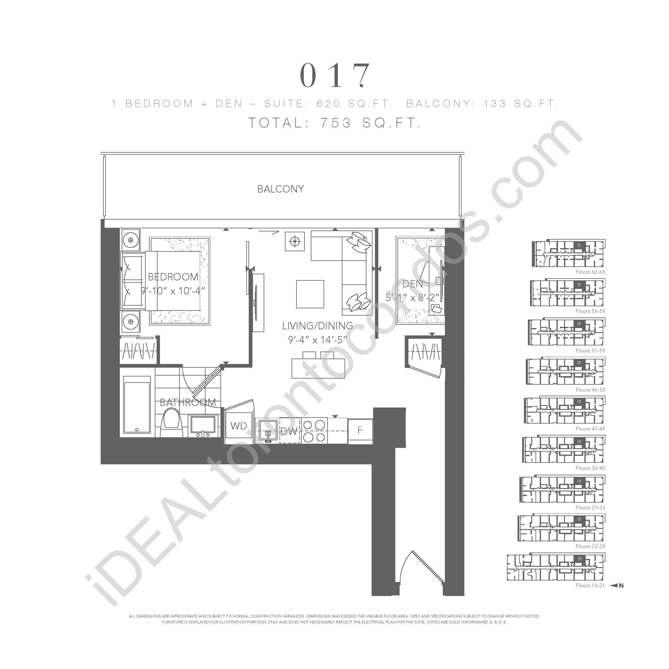 1 bedroom + den 017
