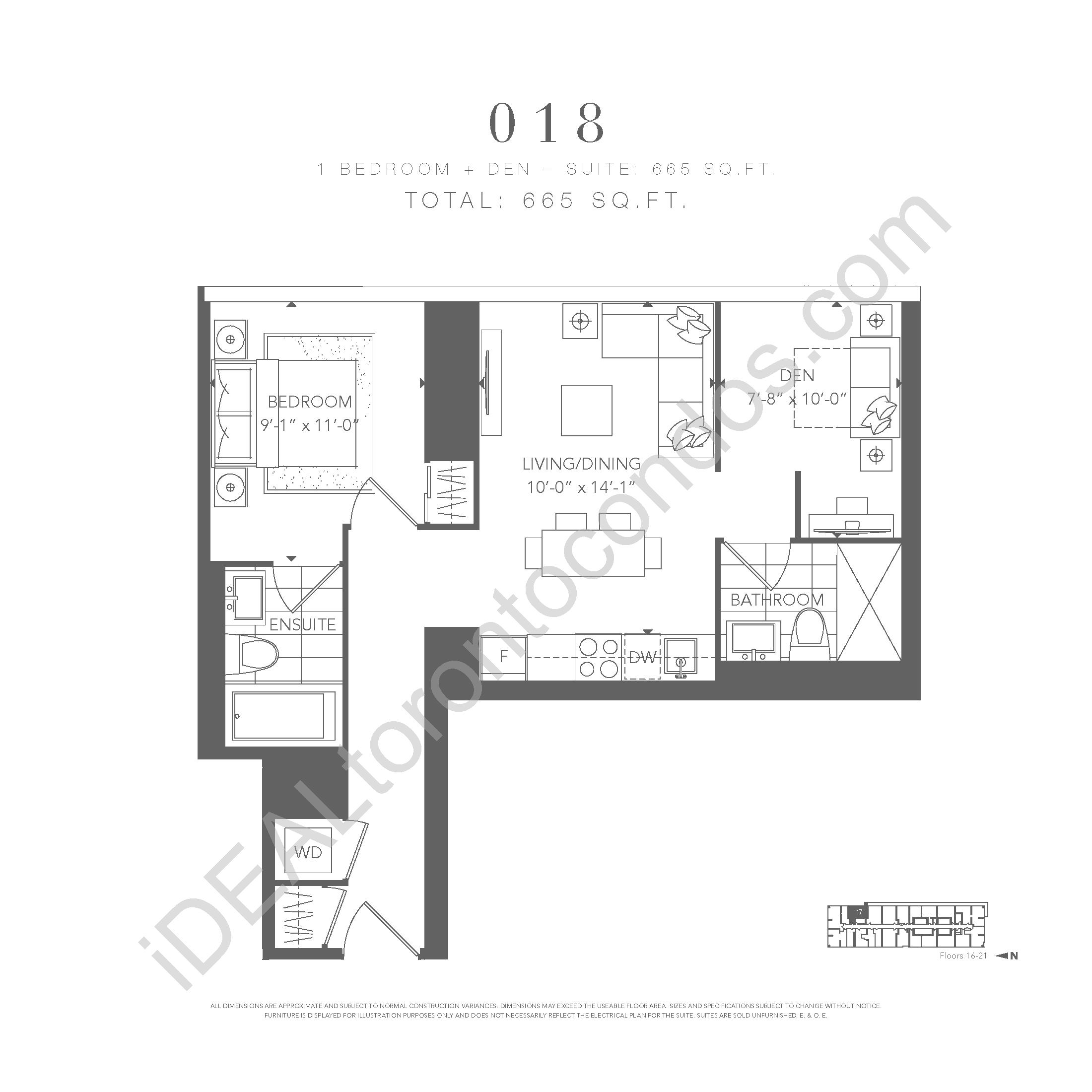 1 bedroom + den 018