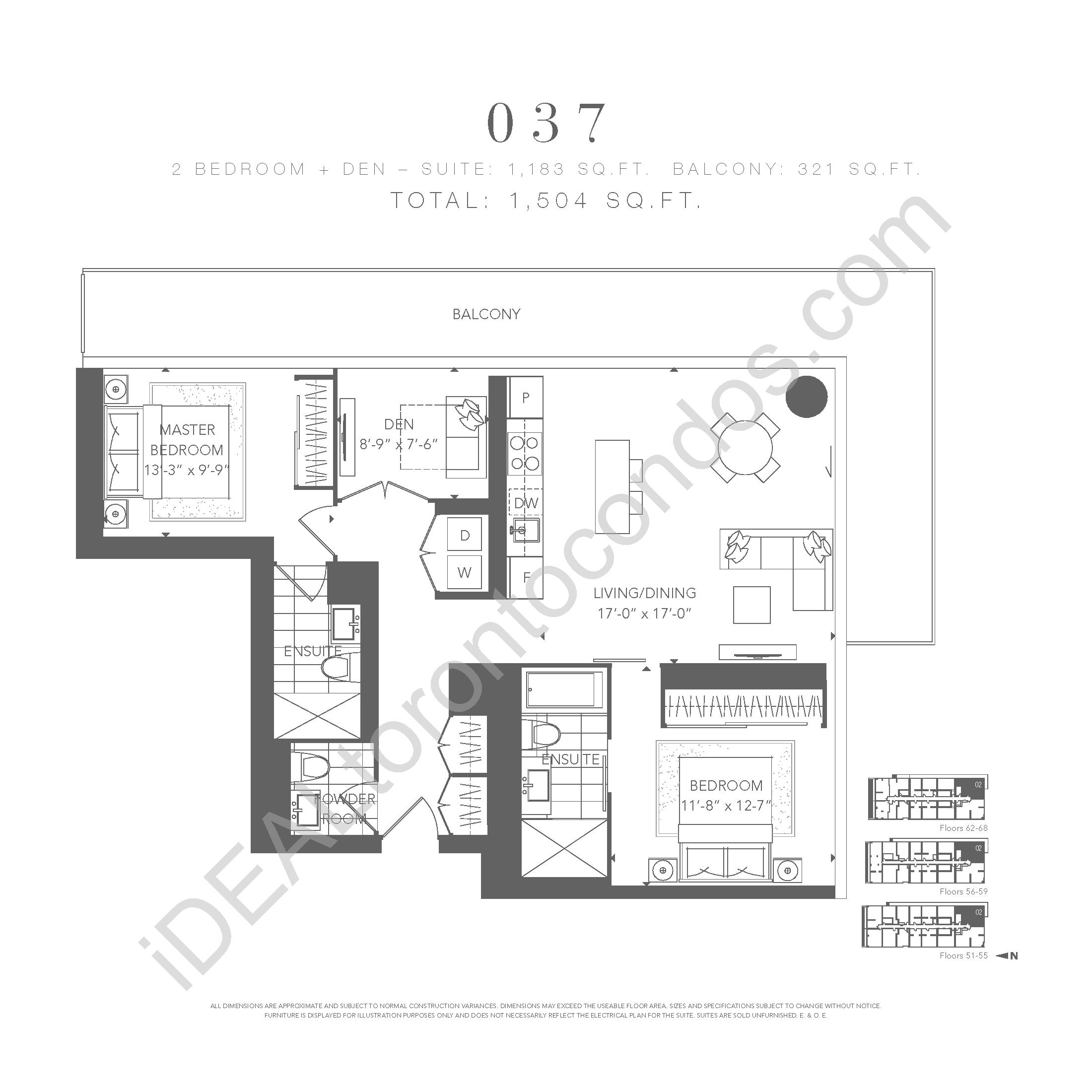 Ysl Residences 383 Yonge Street Toronto Idealtoronto Condos 2 Bedroom Electrical Plan Den 037