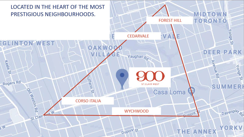900 St Clair West-map